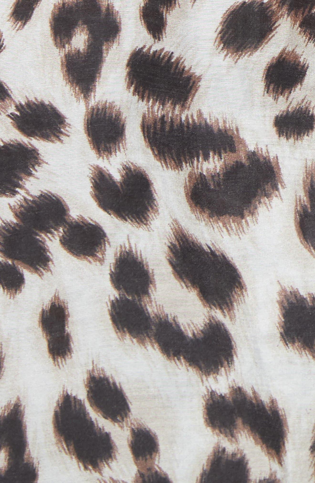 Daddy Leopard Print Blouse,                             Alternate thumbnail 5, color,                             Bright White Multi