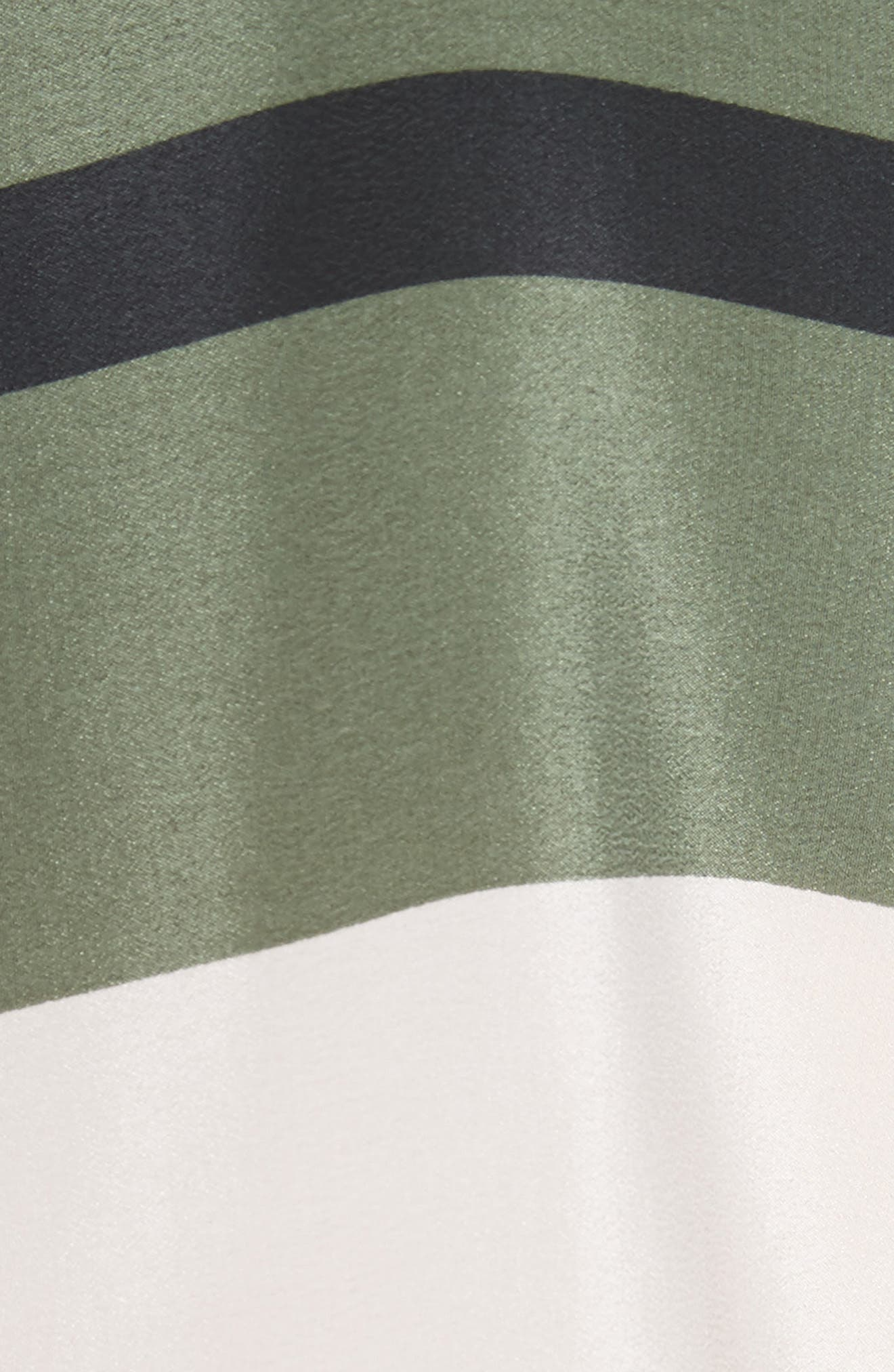 Huntley Stripe Block Silk Blouse,                             Alternate thumbnail 5, color,                             French Vanilla-Camouflage