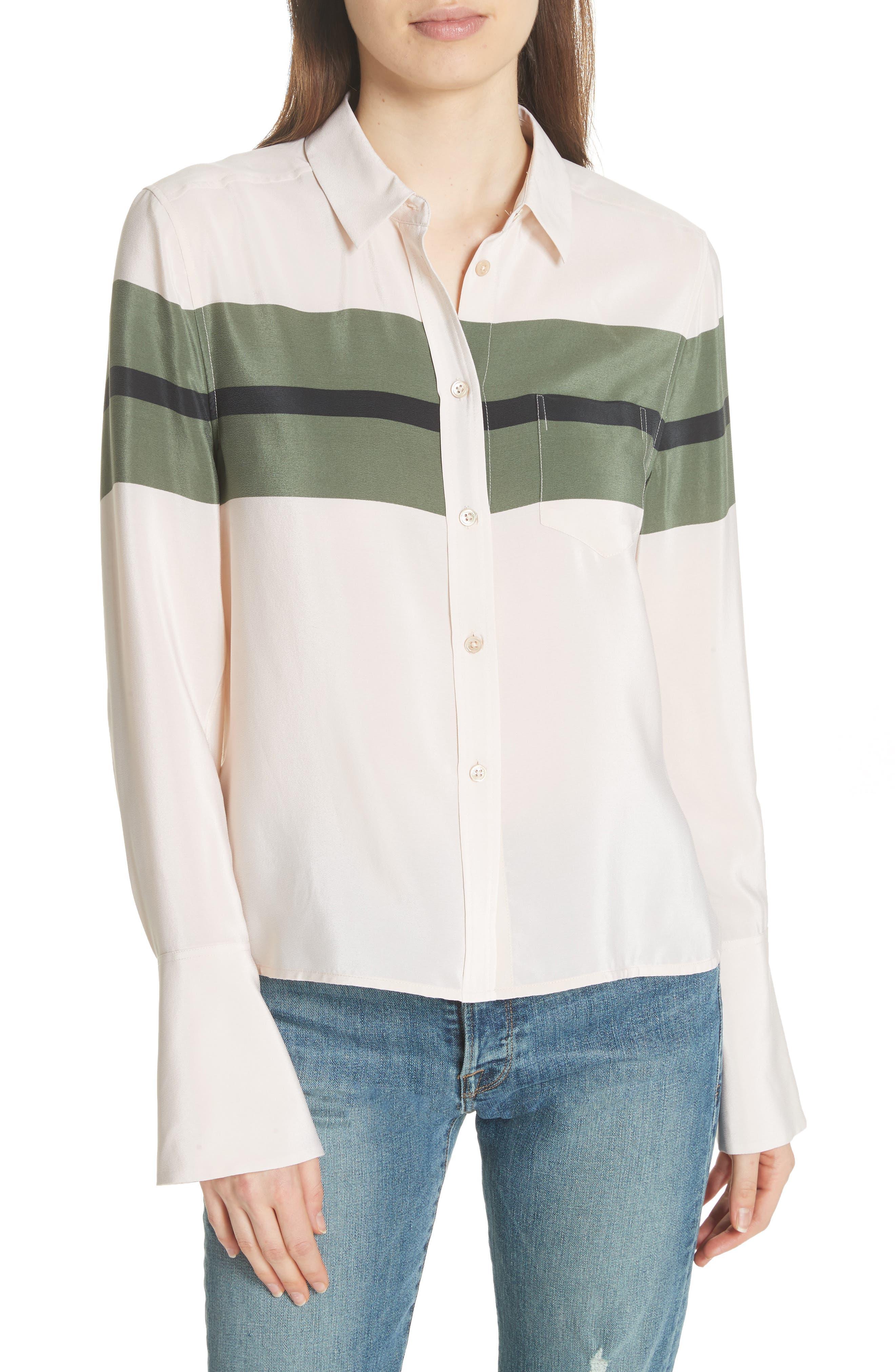 Huntley Stripe Block Silk Blouse,                         Main,                         color, French Vanilla-Camouflage