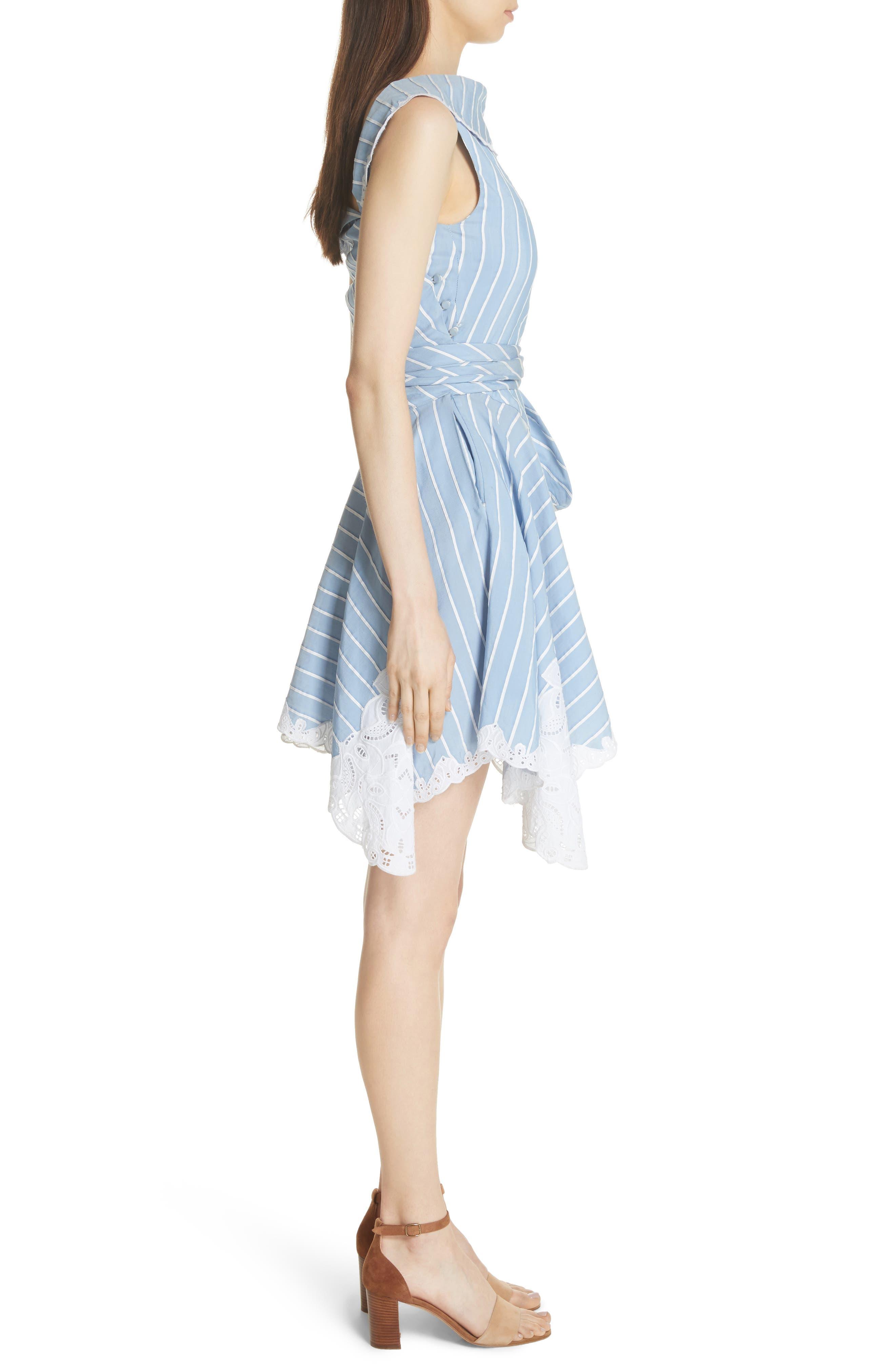 Lace Trim Asymmetrical Dress,                             Alternate thumbnail 3, color,                             White/ Chambray