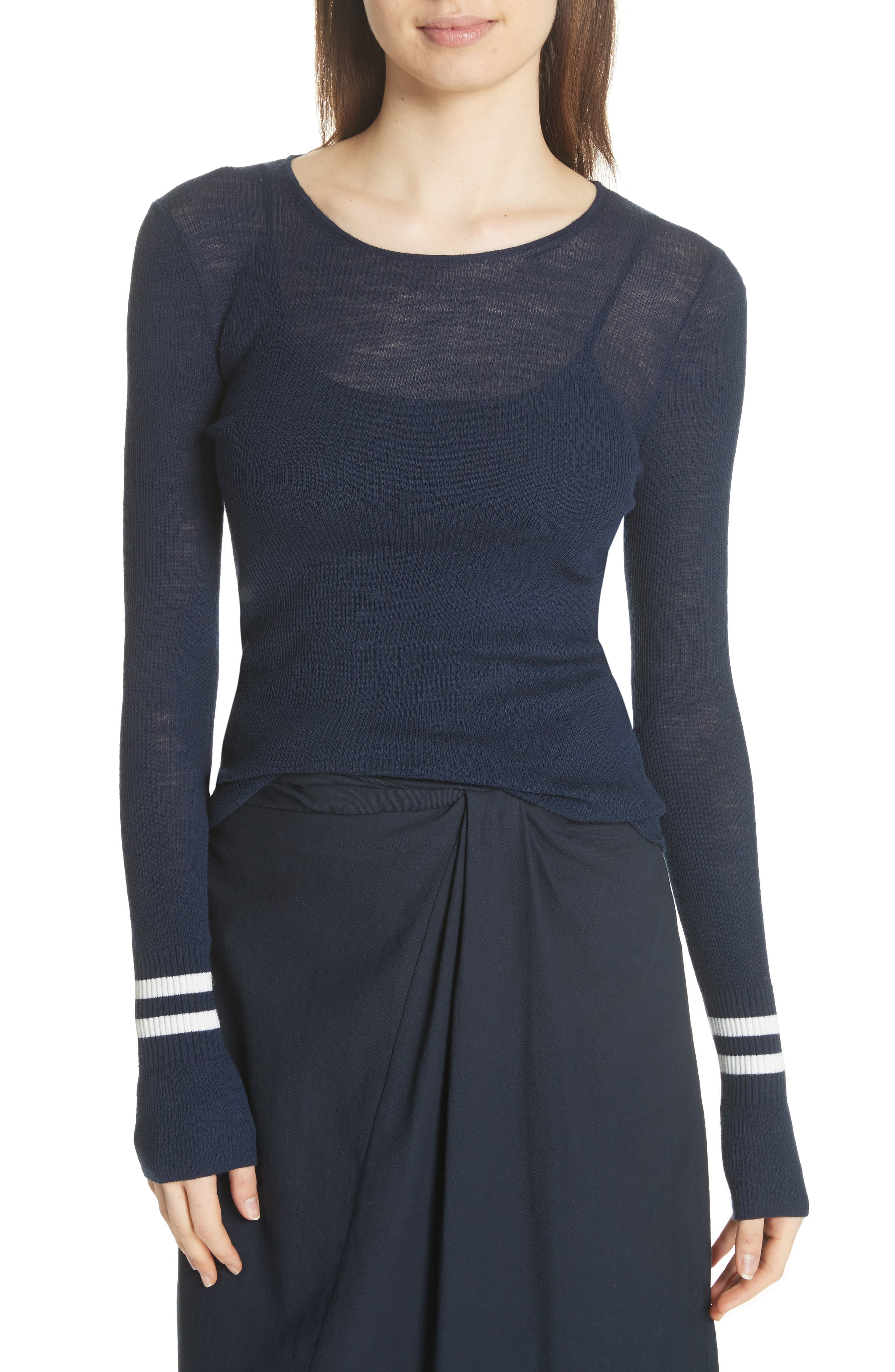 Stripe Cuff Wool Sweater,                         Main,                         color, Coastal/ Optic White