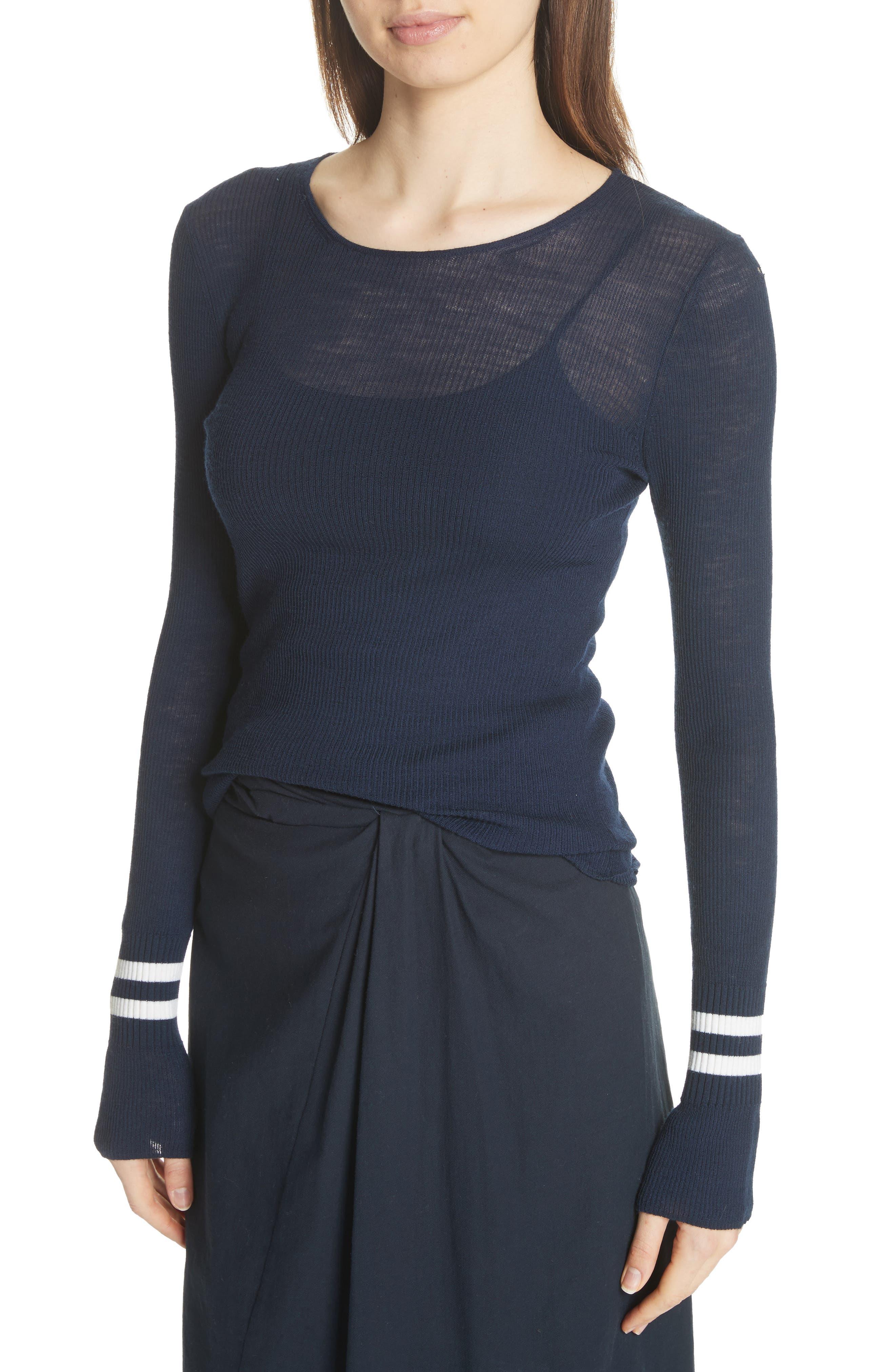 Stripe Cuff Wool Sweater,                             Alternate thumbnail 4, color,                             Coastal/ Optic White