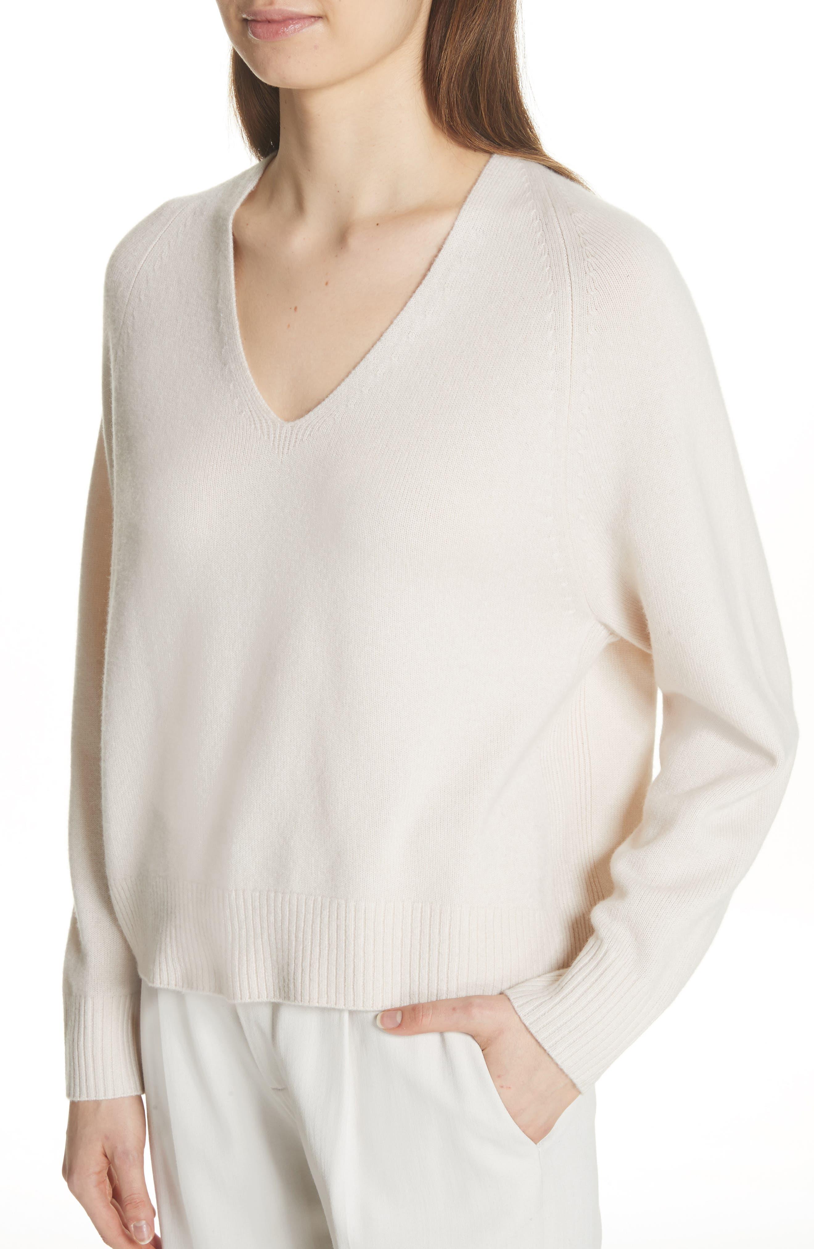 Cashmere Raglan Sleeve Sweater,                             Alternate thumbnail 4, color,                             Sandstone