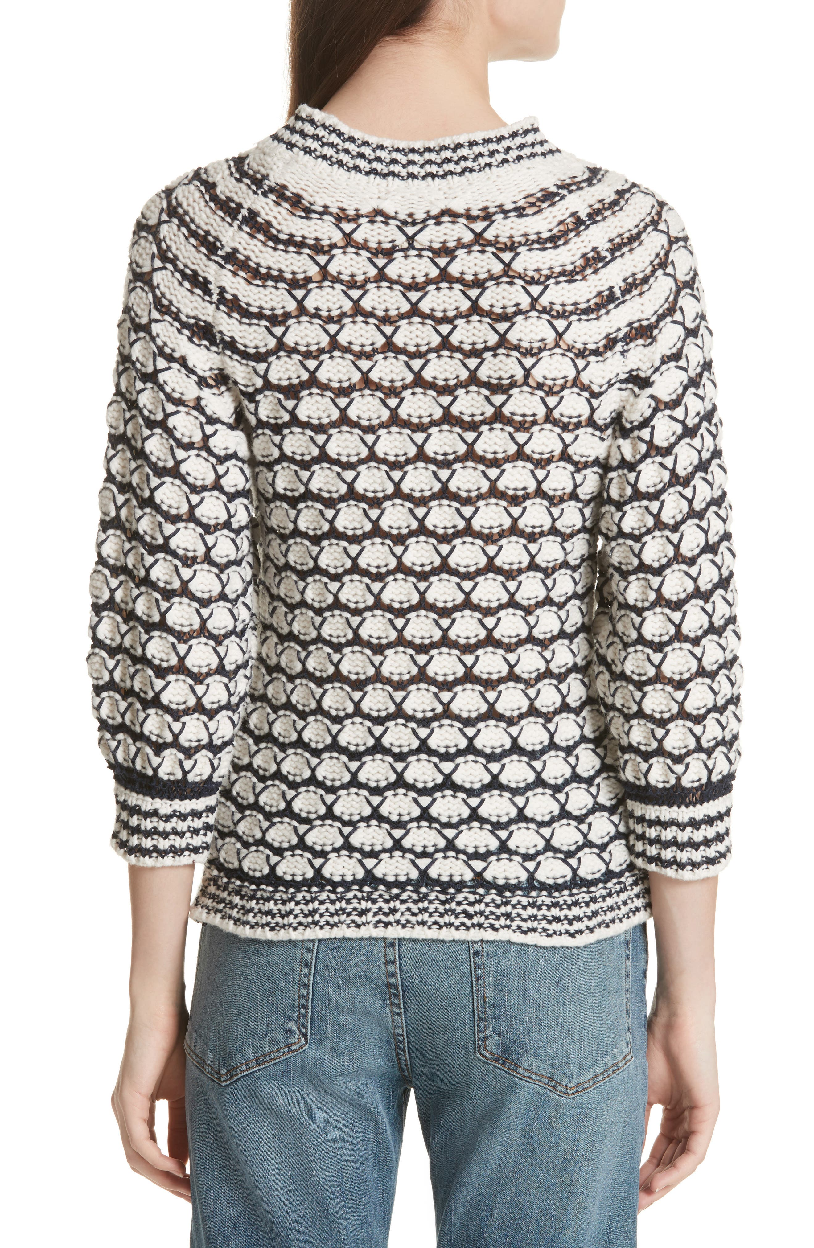 Lace Stitch Sweater,                             Alternate thumbnail 2, color,                             Cream/ Midnight Navy