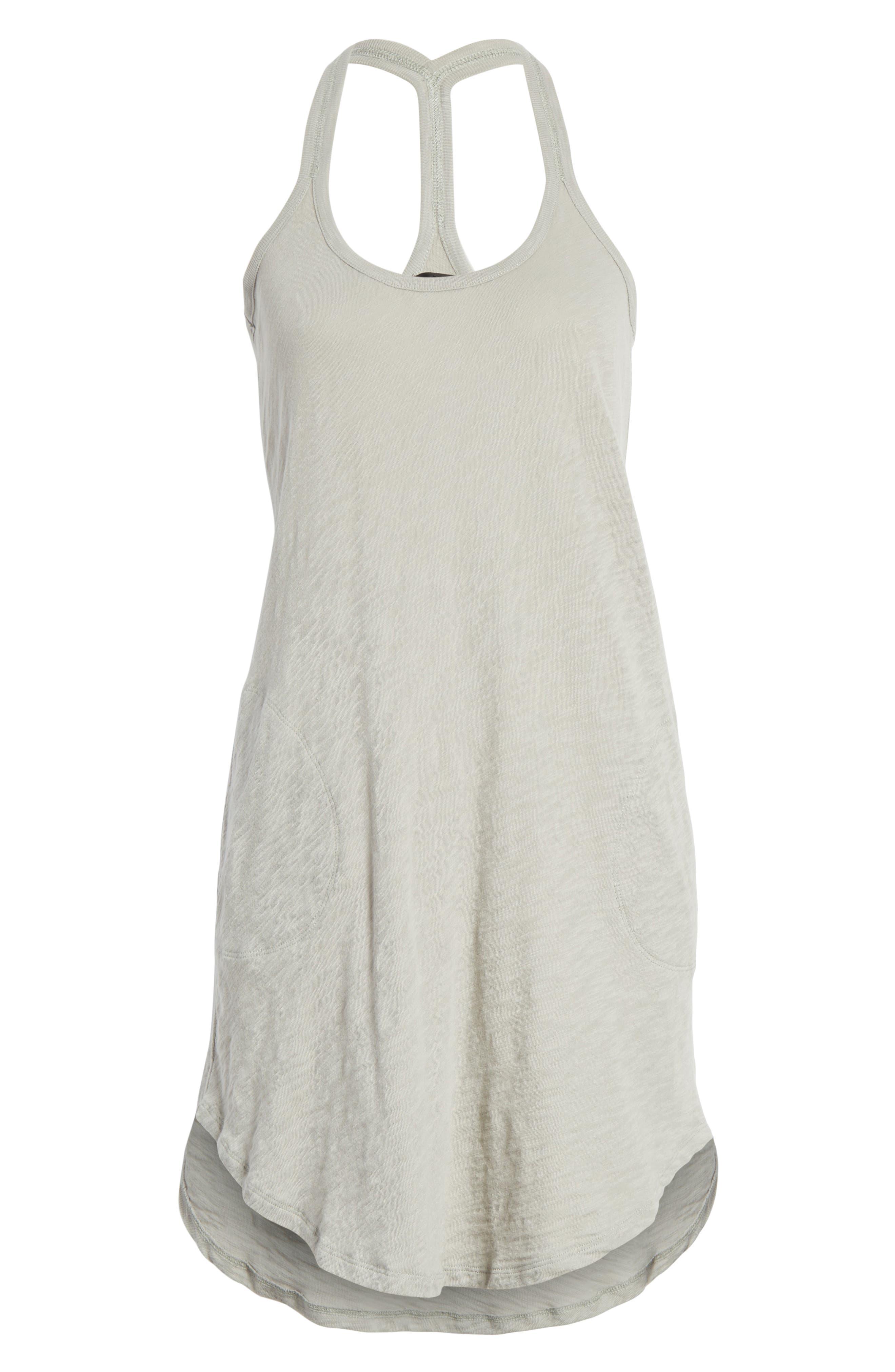 Cotton Trapeze Tank Dress,                             Alternate thumbnail 3, color,                             Pale Moss