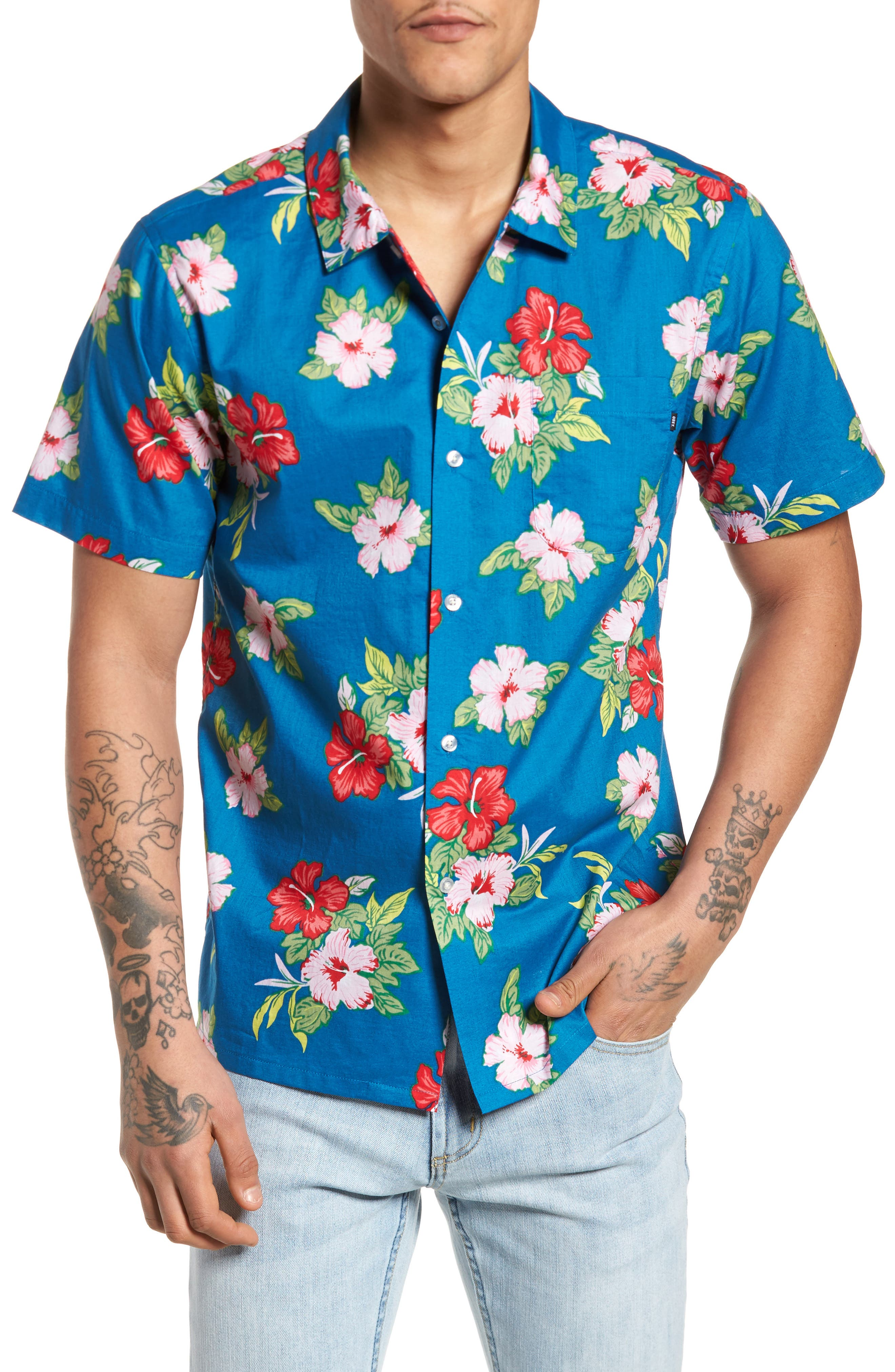 Kane Woven Shirt,                         Main,                         color, Navy Multi