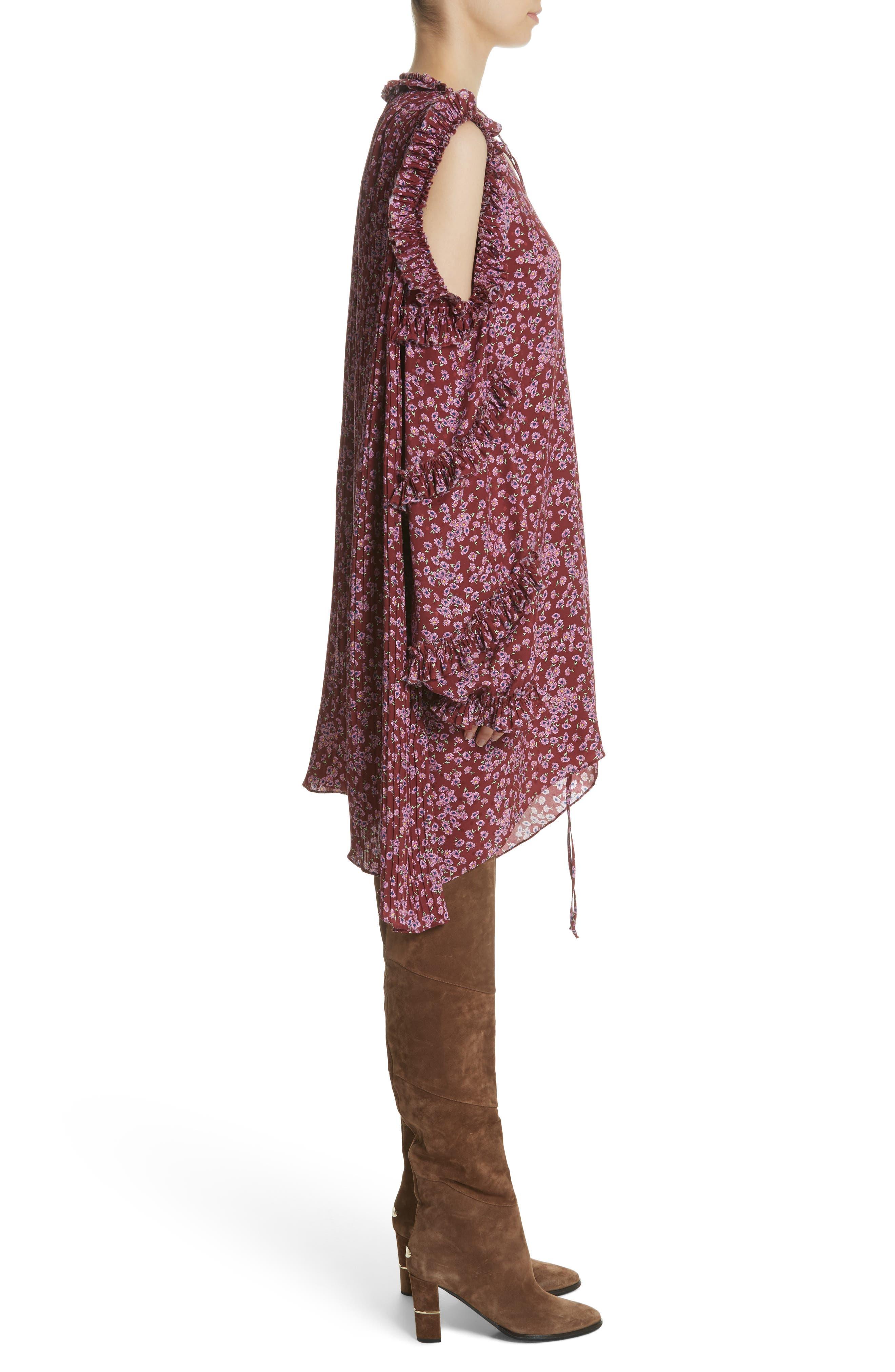 Floral Silk Cold Shoulder Dress,                             Alternate thumbnail 4, color,                             Bordeaux