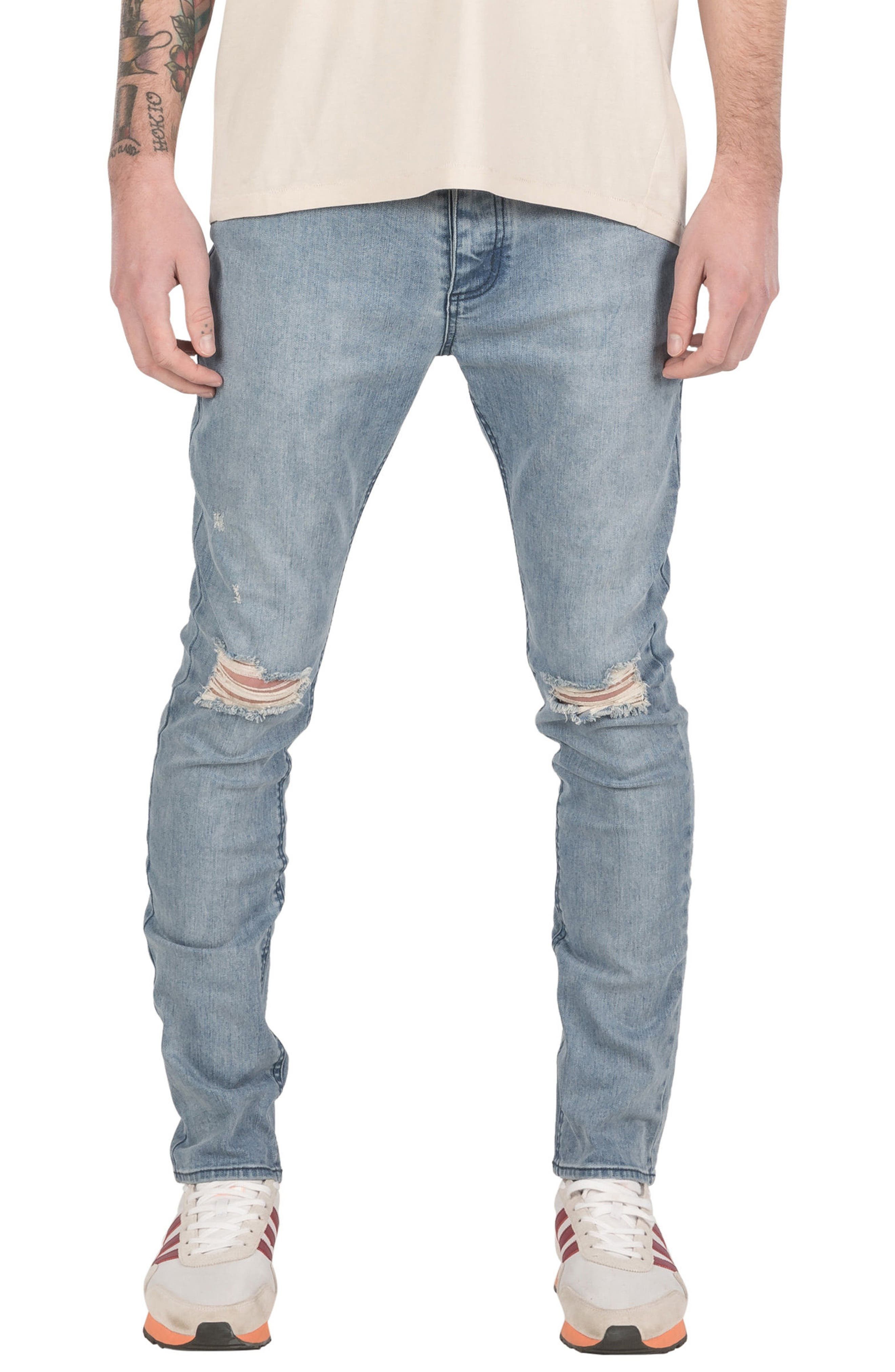 ZANEROBE Joe Blow Destroyed Denim Jeans (Mineral Blue)