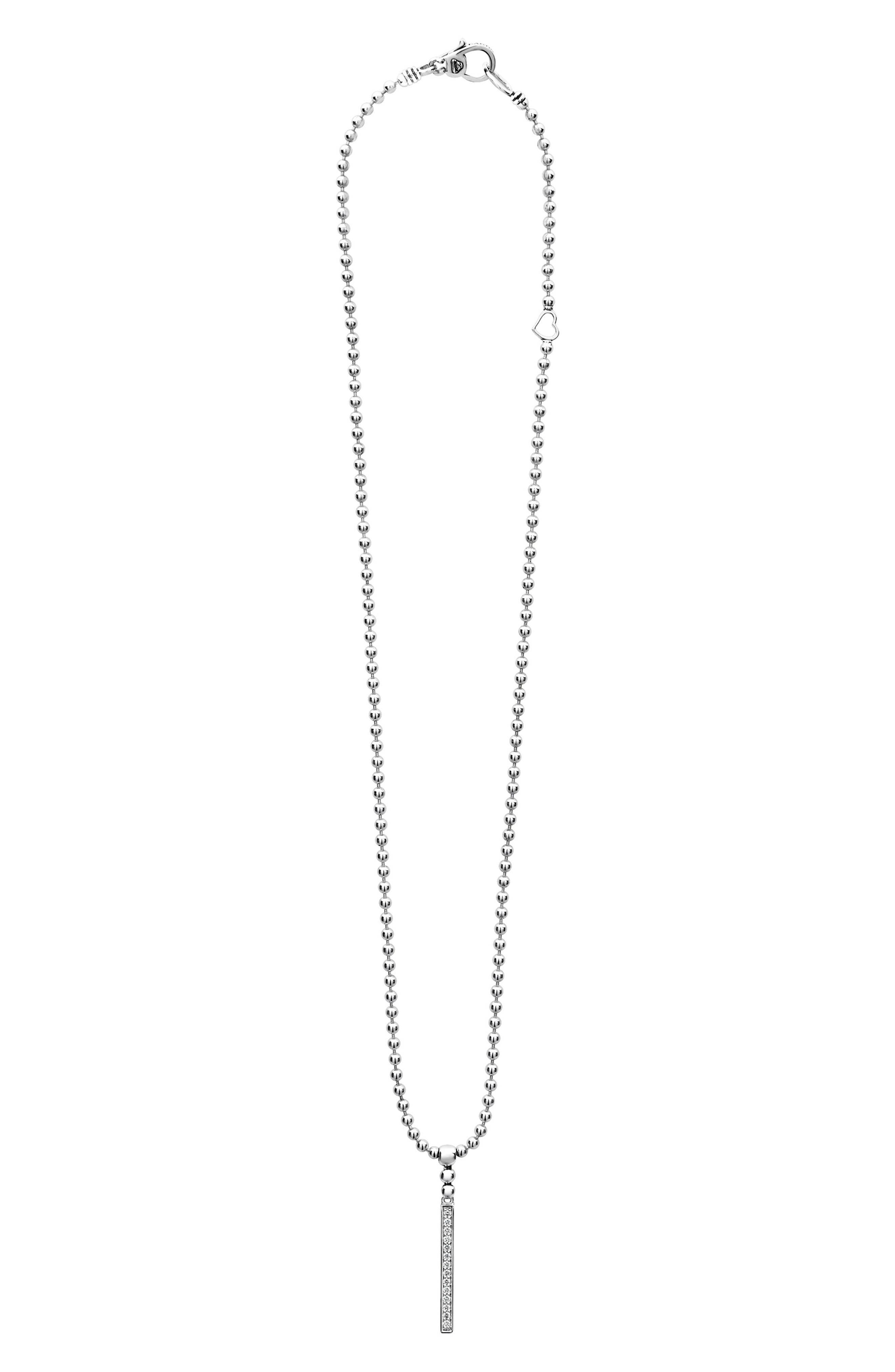Caviar Spark Diamond Bar Pendant Necklace,                             Main thumbnail 1, color,                             Silver/ Diamond