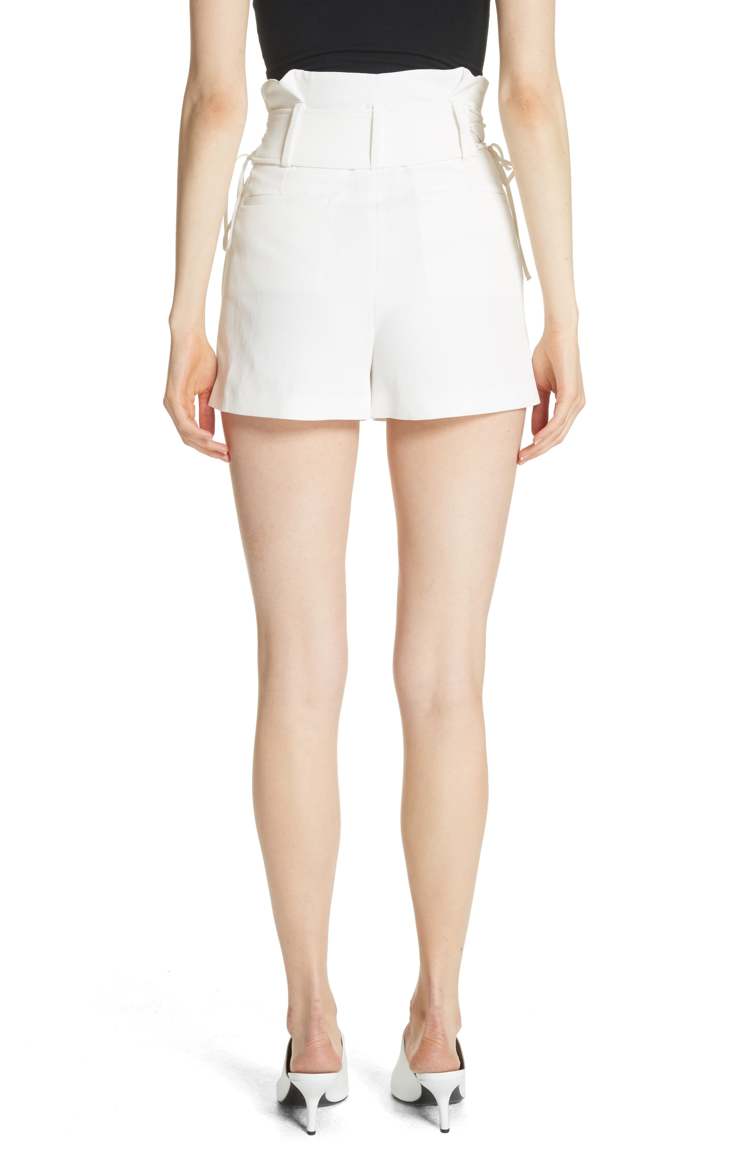 Lalora High Waist Lace-Up Shorts,                             Alternate thumbnail 2, color,                             White