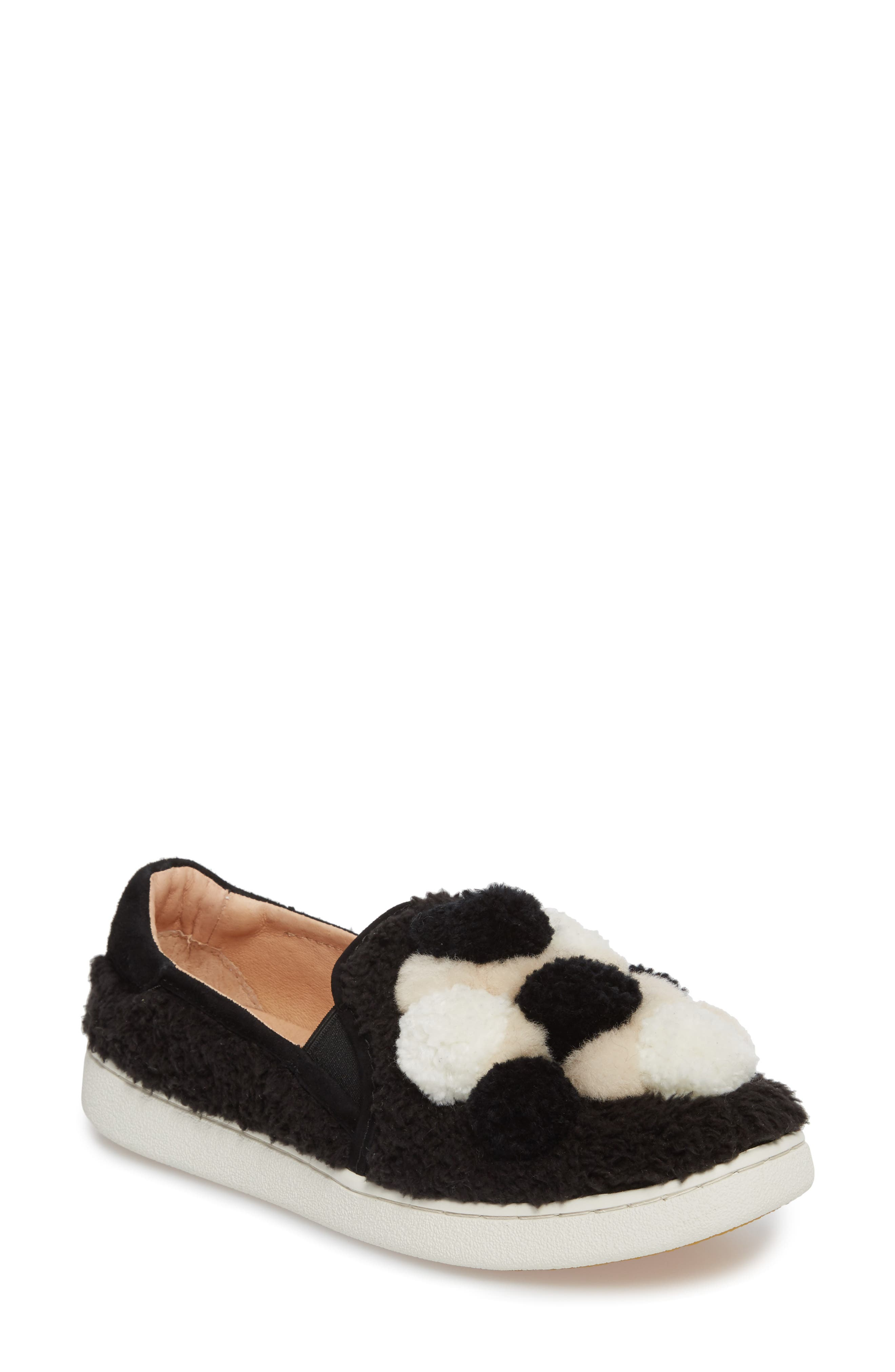 Ricci Plush Genuine Shearling Pompom Slip-On Sneaker,                             Main thumbnail 1, color,                             Black