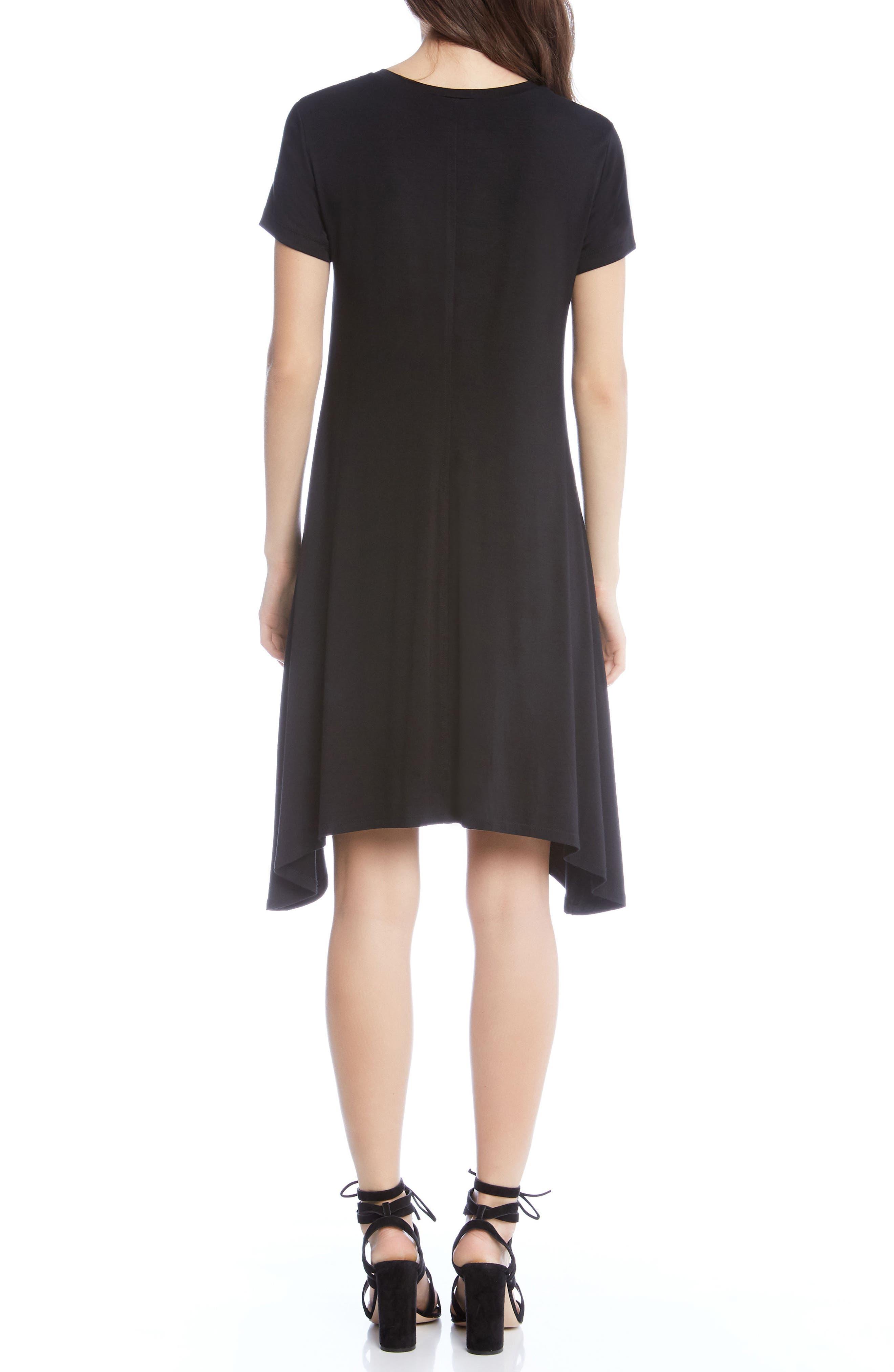 Hailey Sharkbite Hem Dress,                             Alternate thumbnail 2, color,                             Black