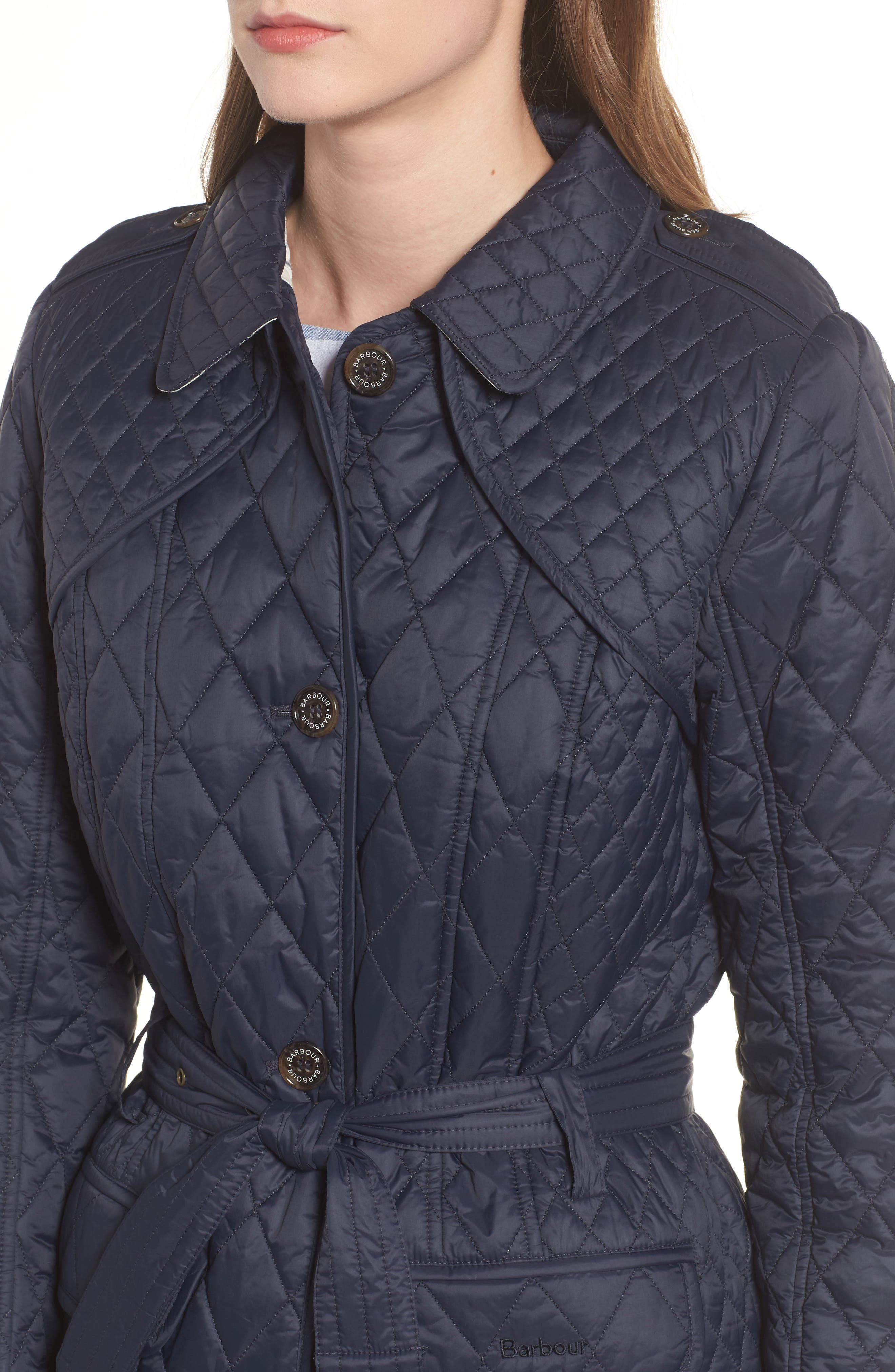 Hailes Quilted Trench Jacket,                             Alternate thumbnail 4, color,                             Navy