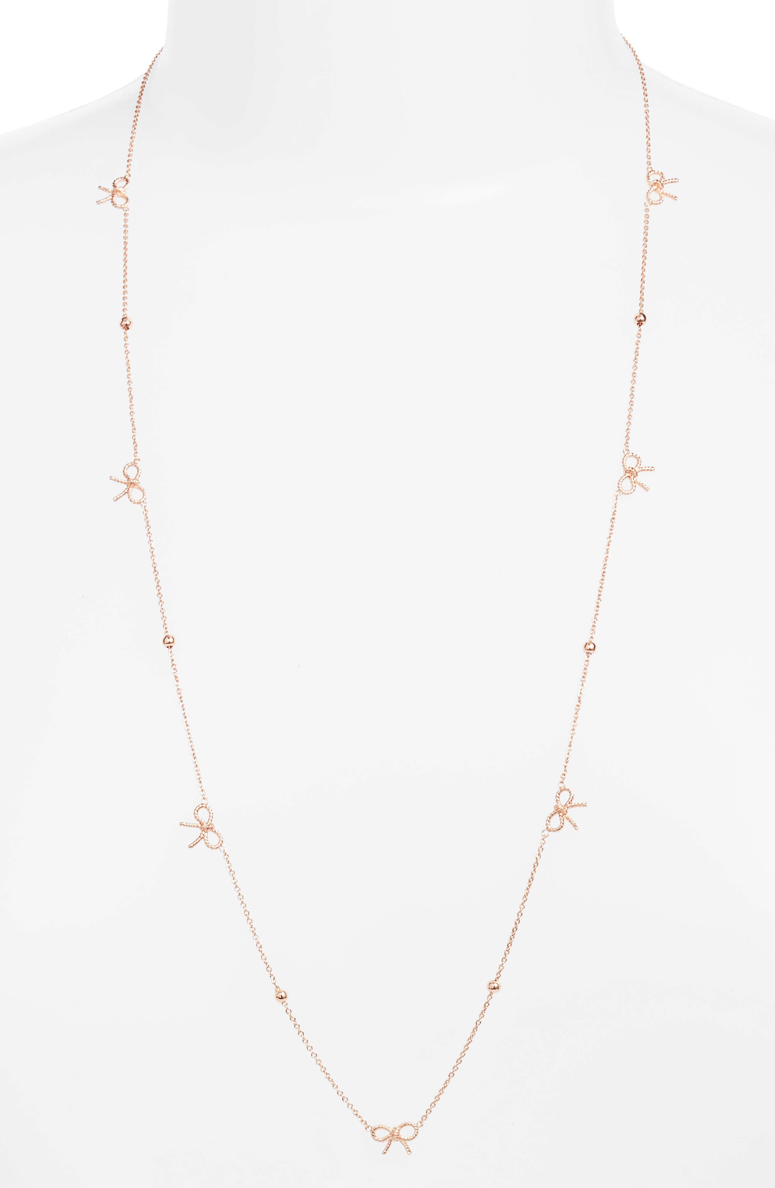 Bow Necklace,                         Main,                         color, Rose Gold