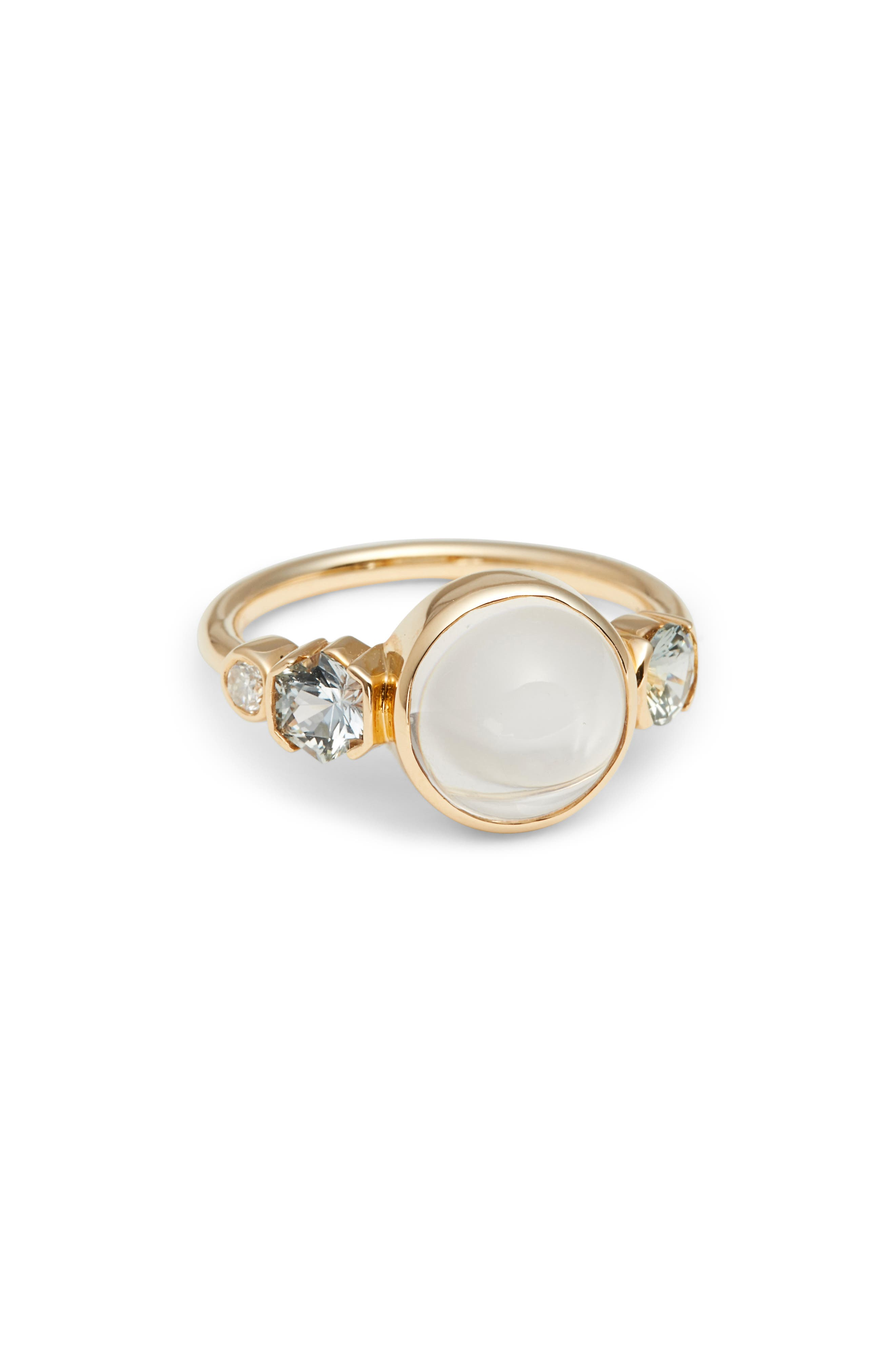 Moonstone, Sapphire & Diamond Ring,                             Main thumbnail 1, color,                             Yellow Gold