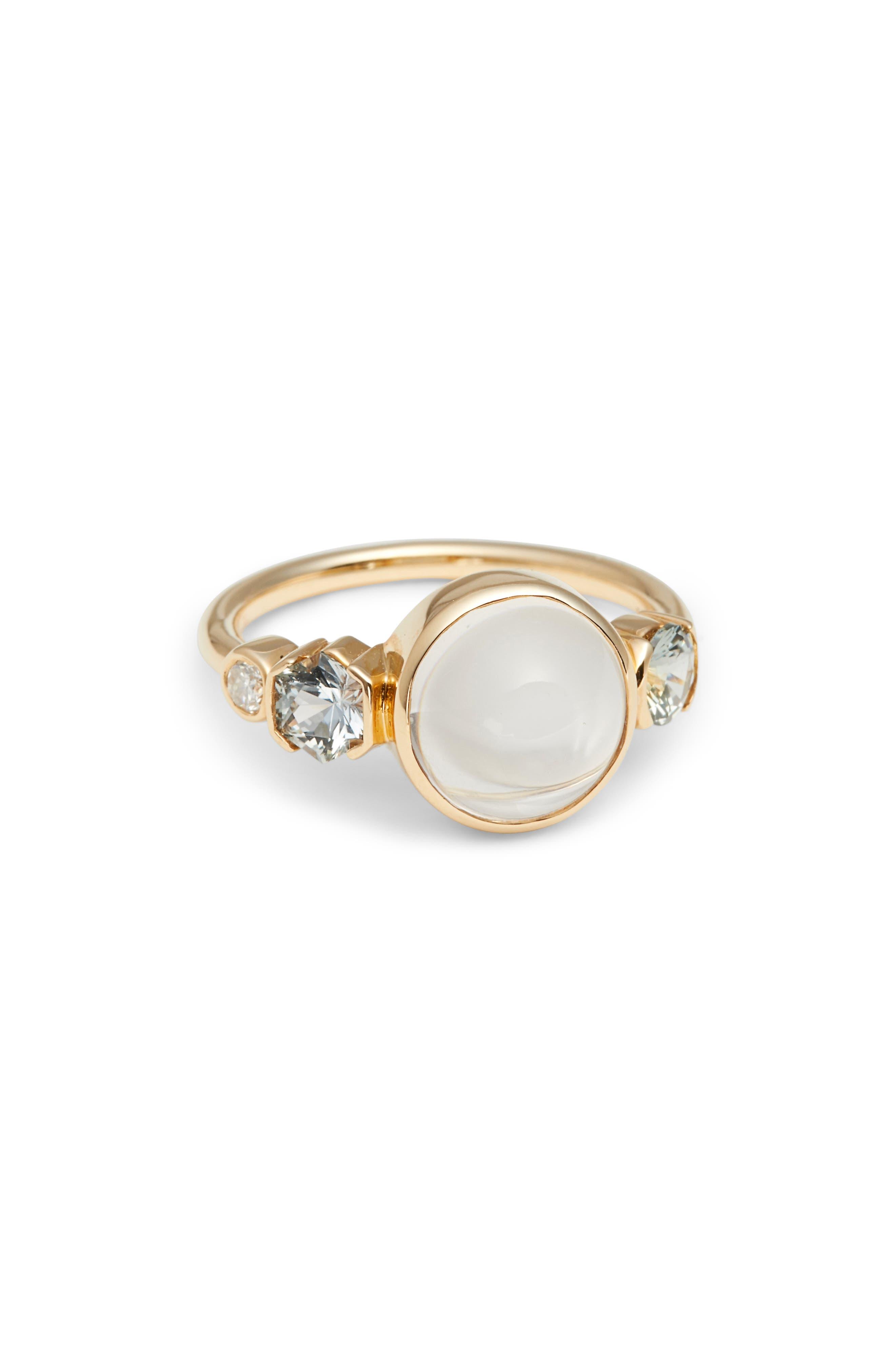 Moonstone, Sapphire & Diamond Ring,                         Main,                         color, Yellow Gold