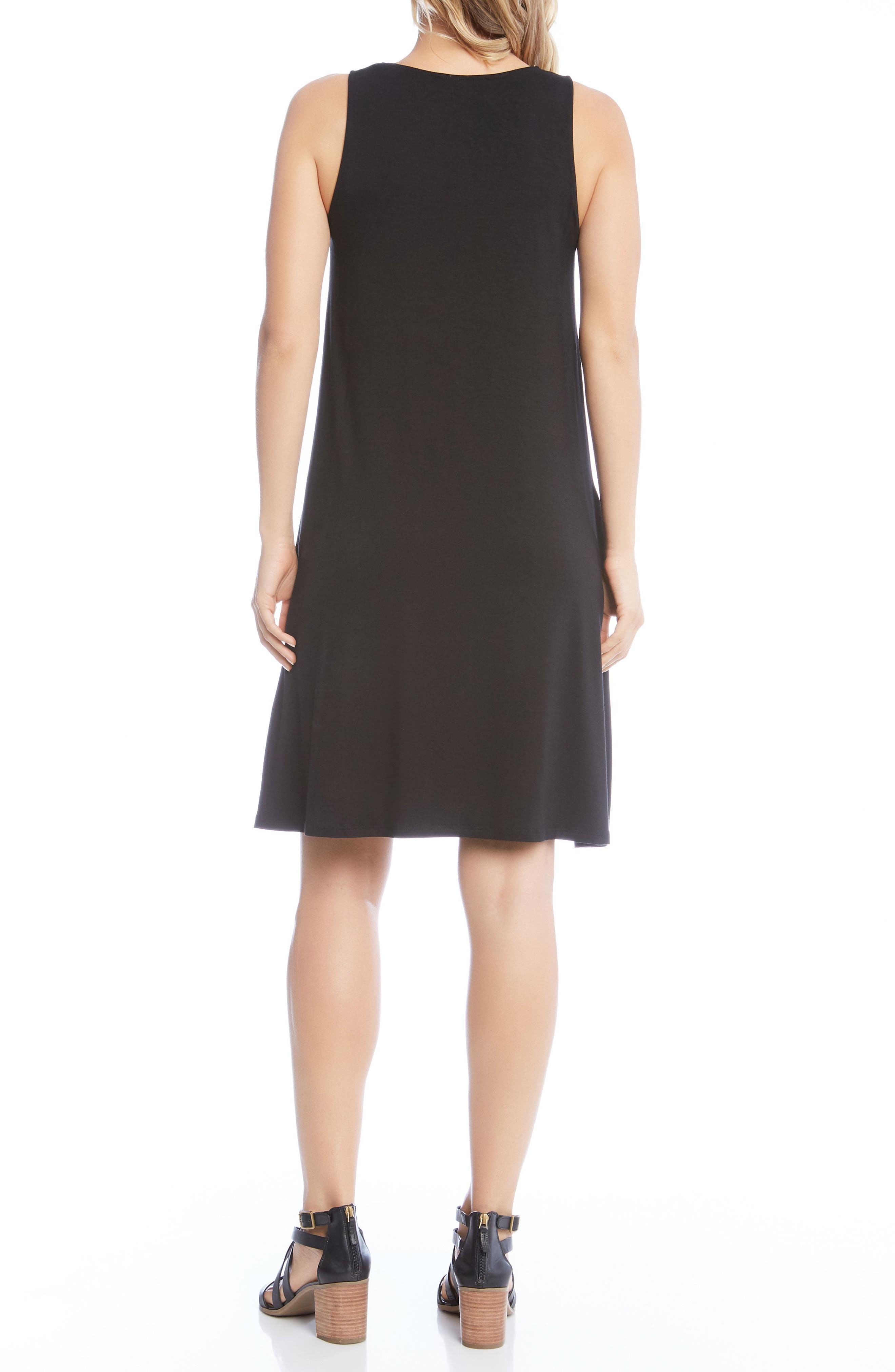 Chloe Swing Jersey Dress,                             Alternate thumbnail 2, color,                             Black