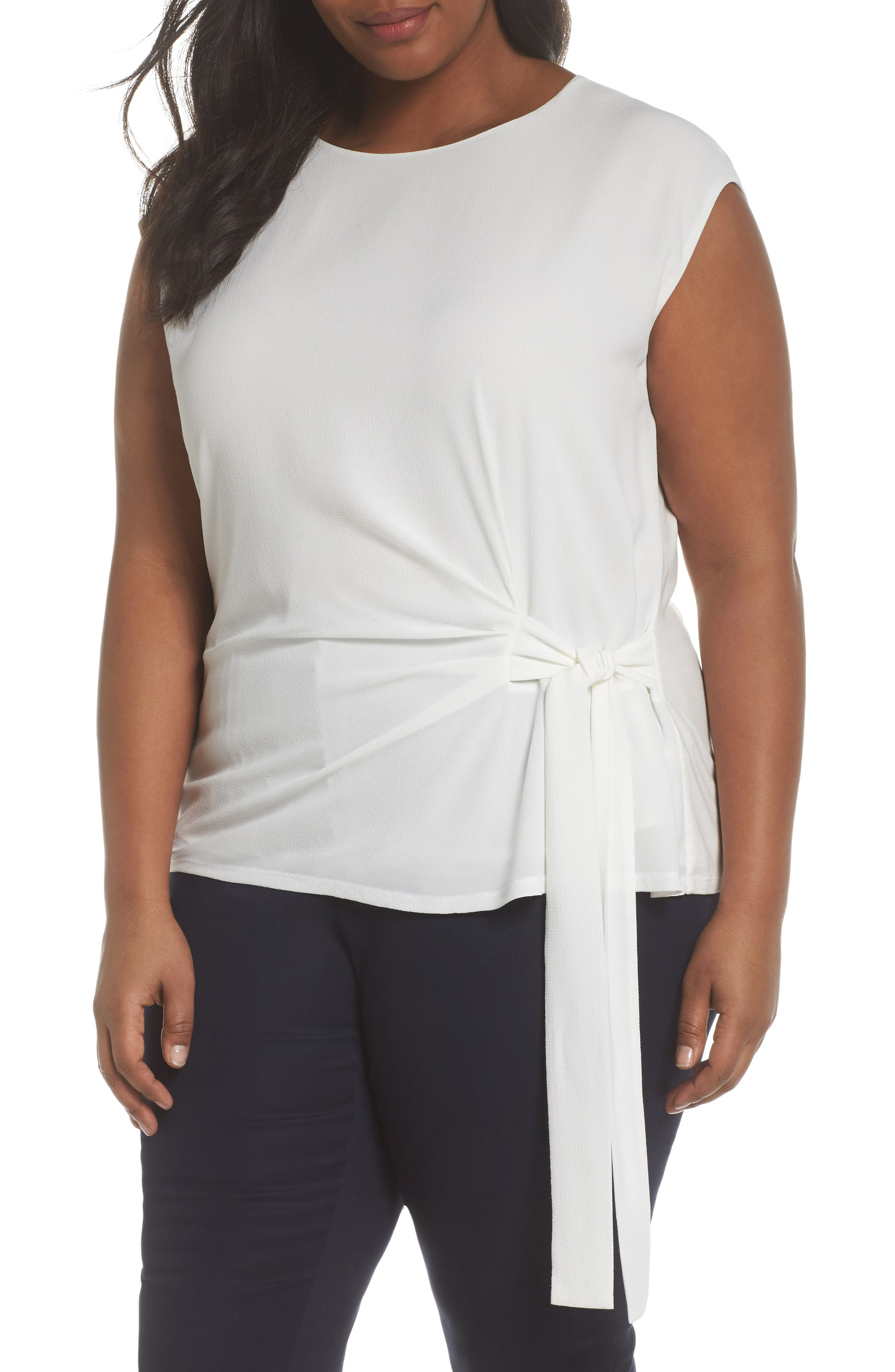 Alternate Image 1 Selected - Vince Camuto Side Tie Mixed Media Top (Plus Size)