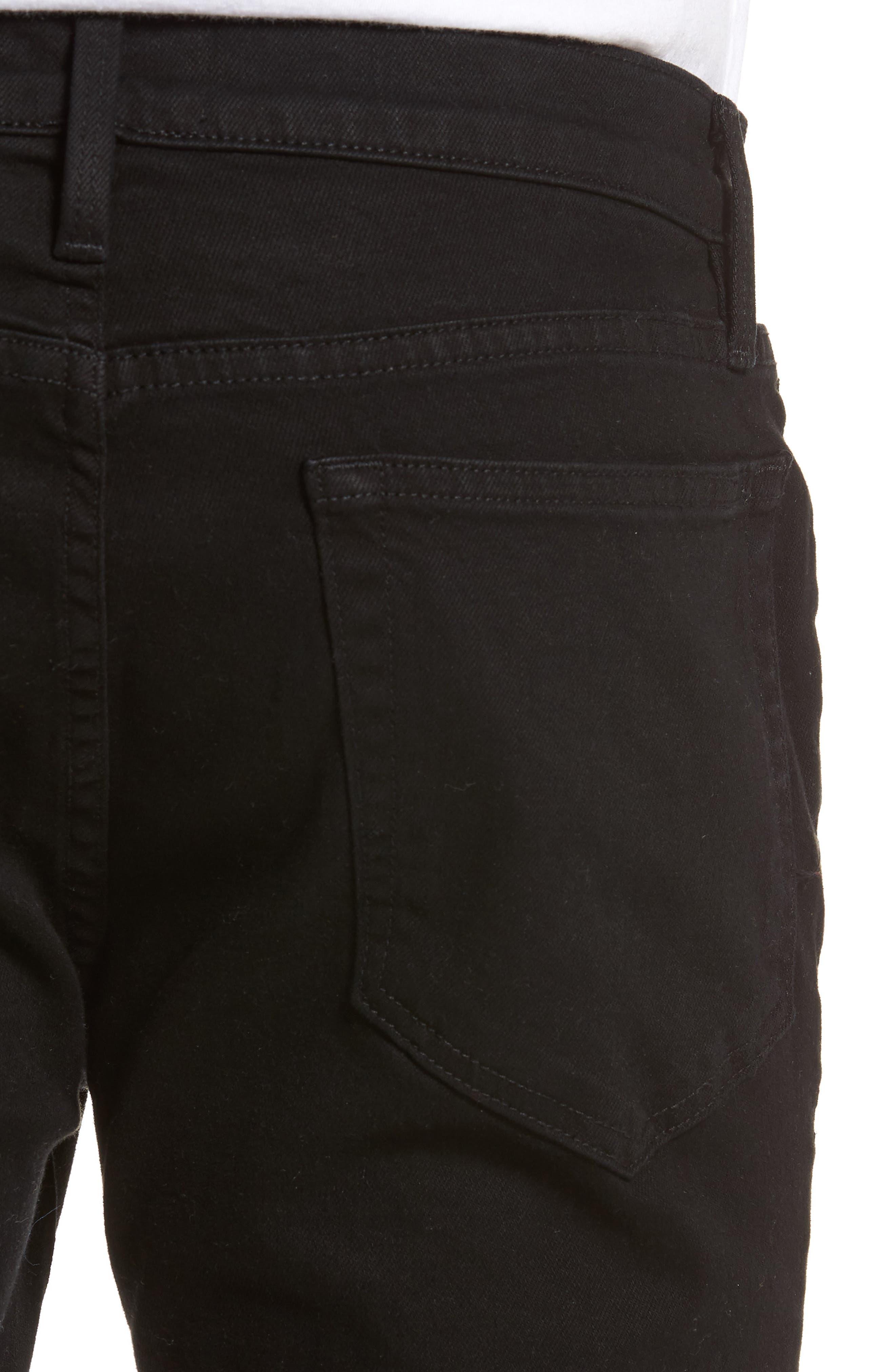 L'Homme Skinny Fit Jeans,                             Alternate thumbnail 4, color,                             Noir