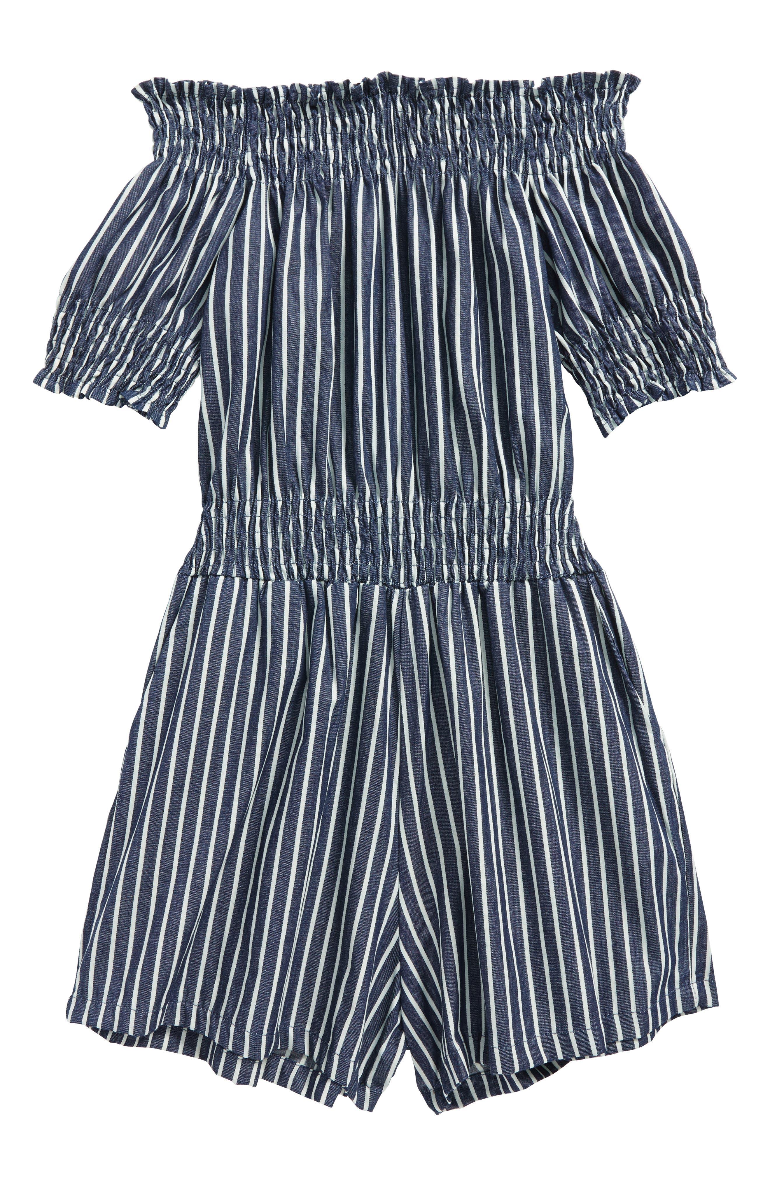 Main Image - Miss Behave Stripe Off the Shoulder Romper (Big Girls)