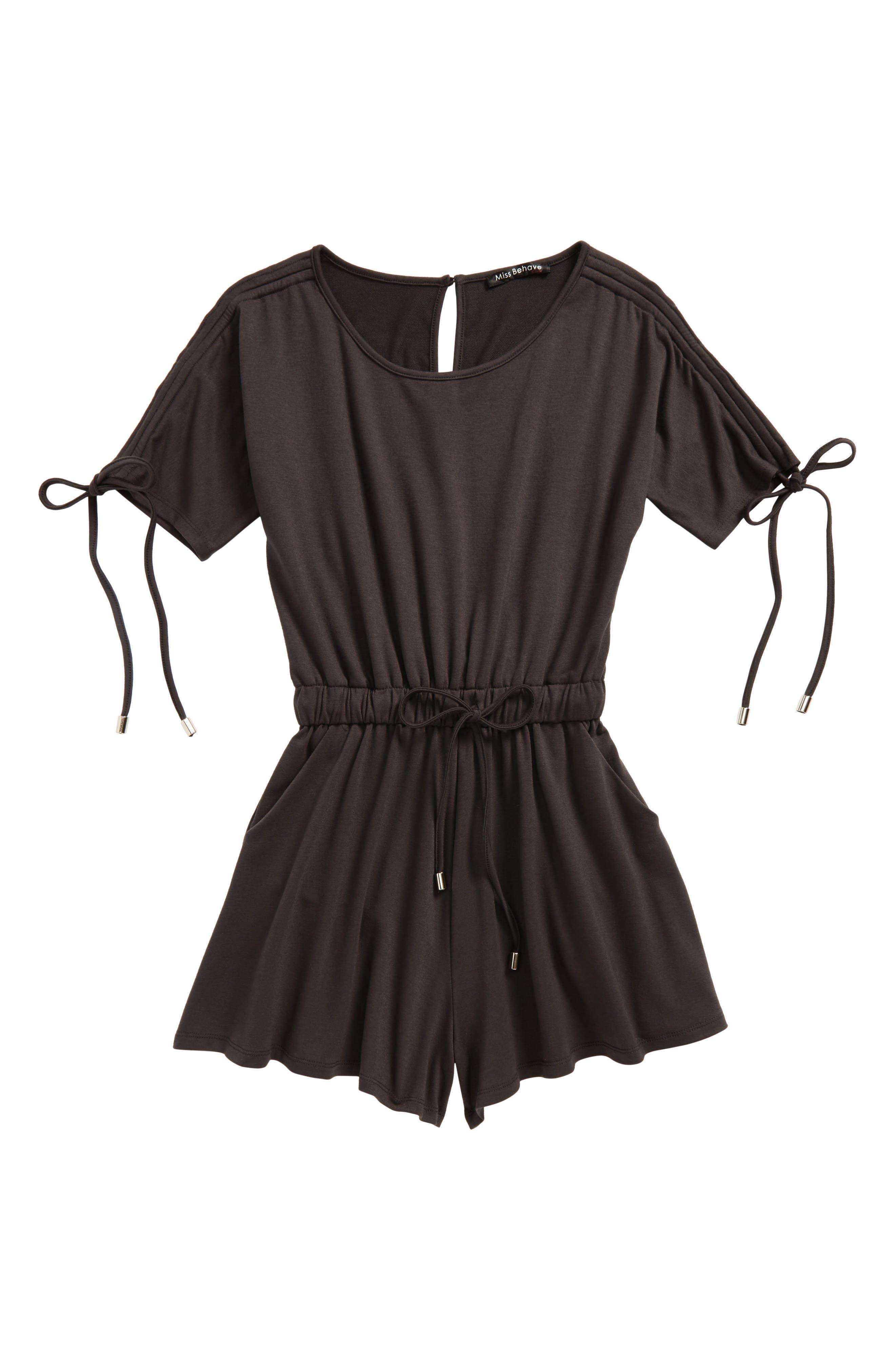 Knit Romper,                         Main,                         color, Charcoal