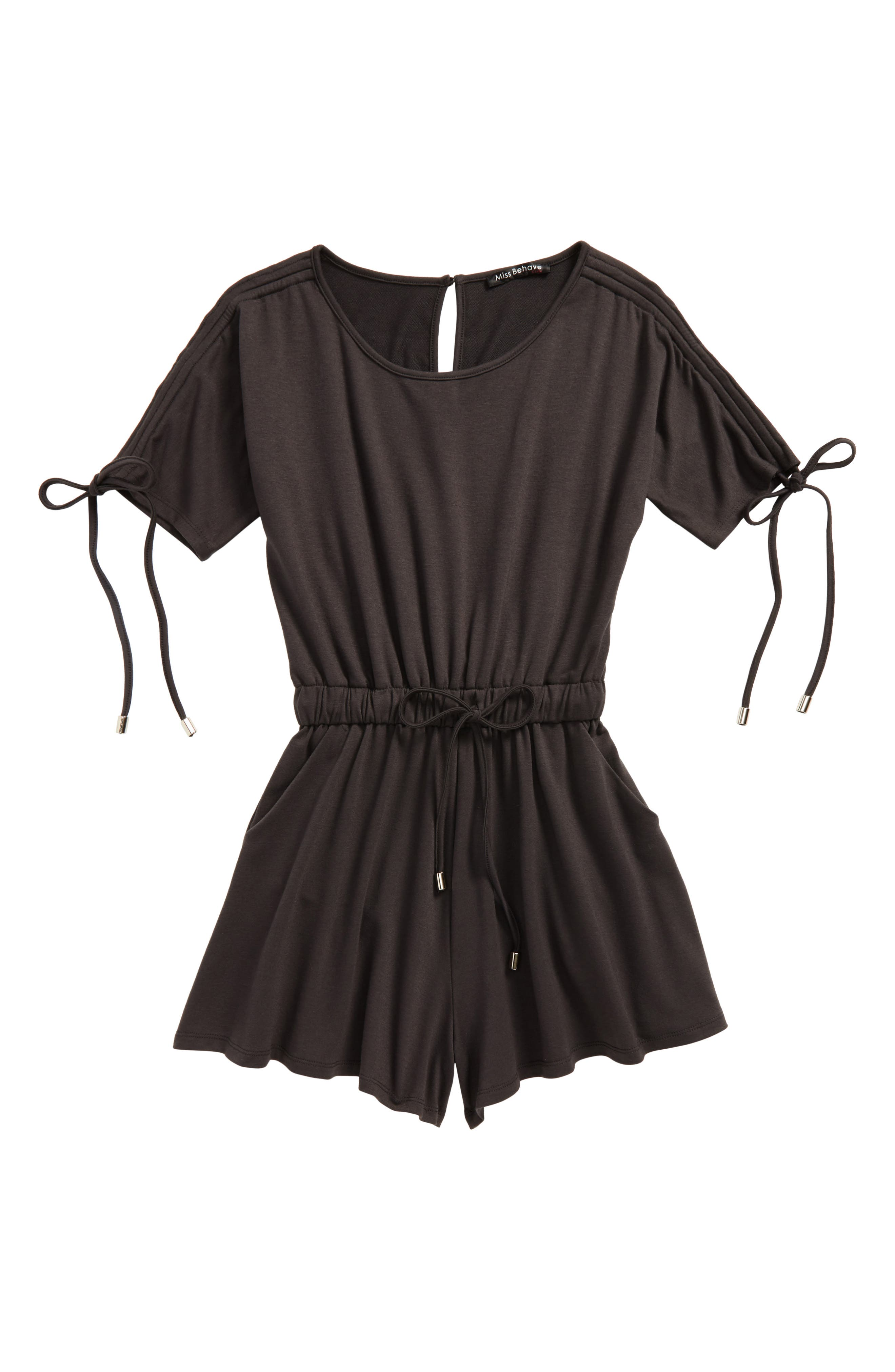 Knit Romper,                         Main,                         color, Charcoal