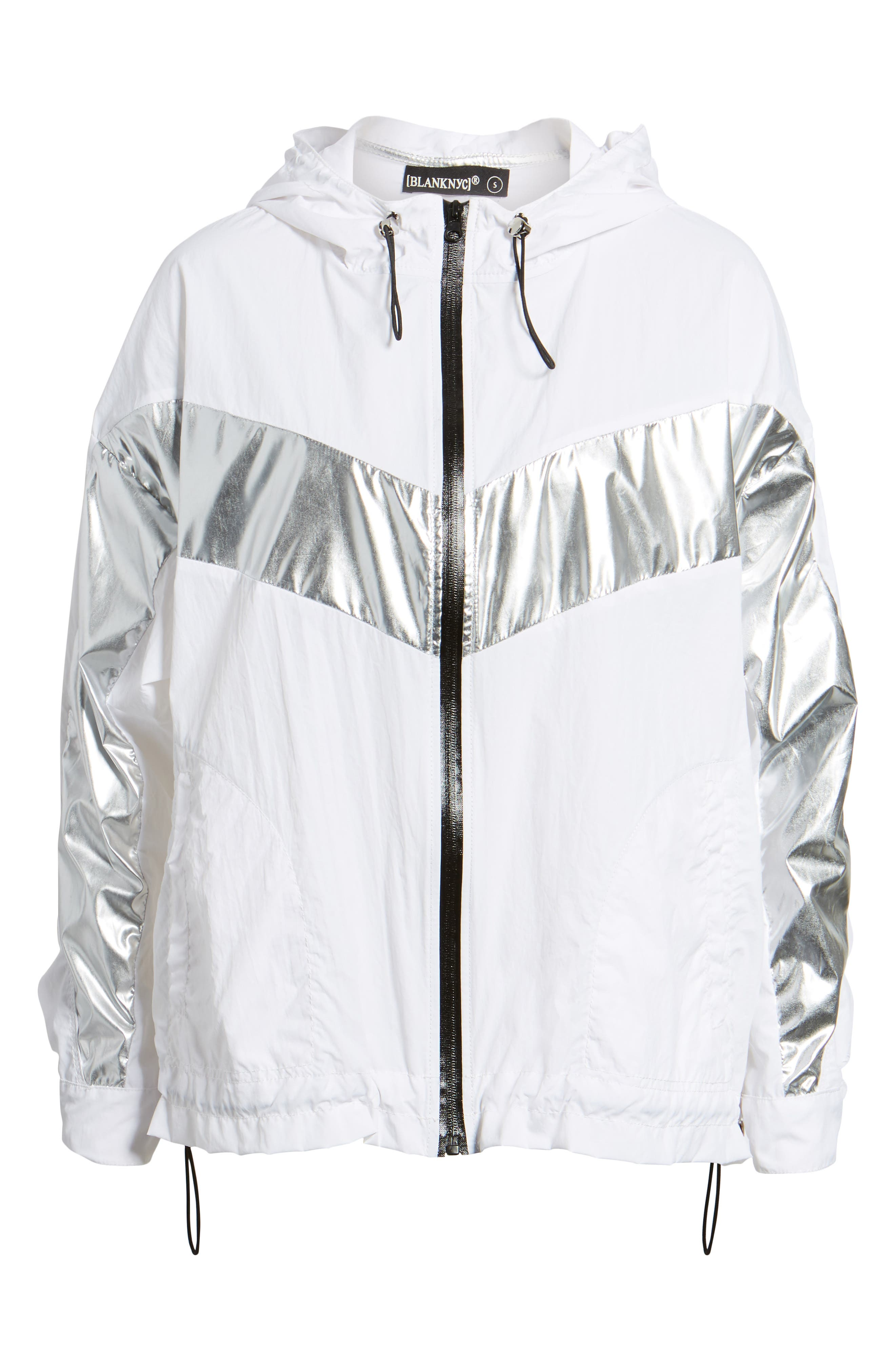Metallic Stripe Windbreaker Jacket,                             Alternate thumbnail 6, color,                             Rocket Science