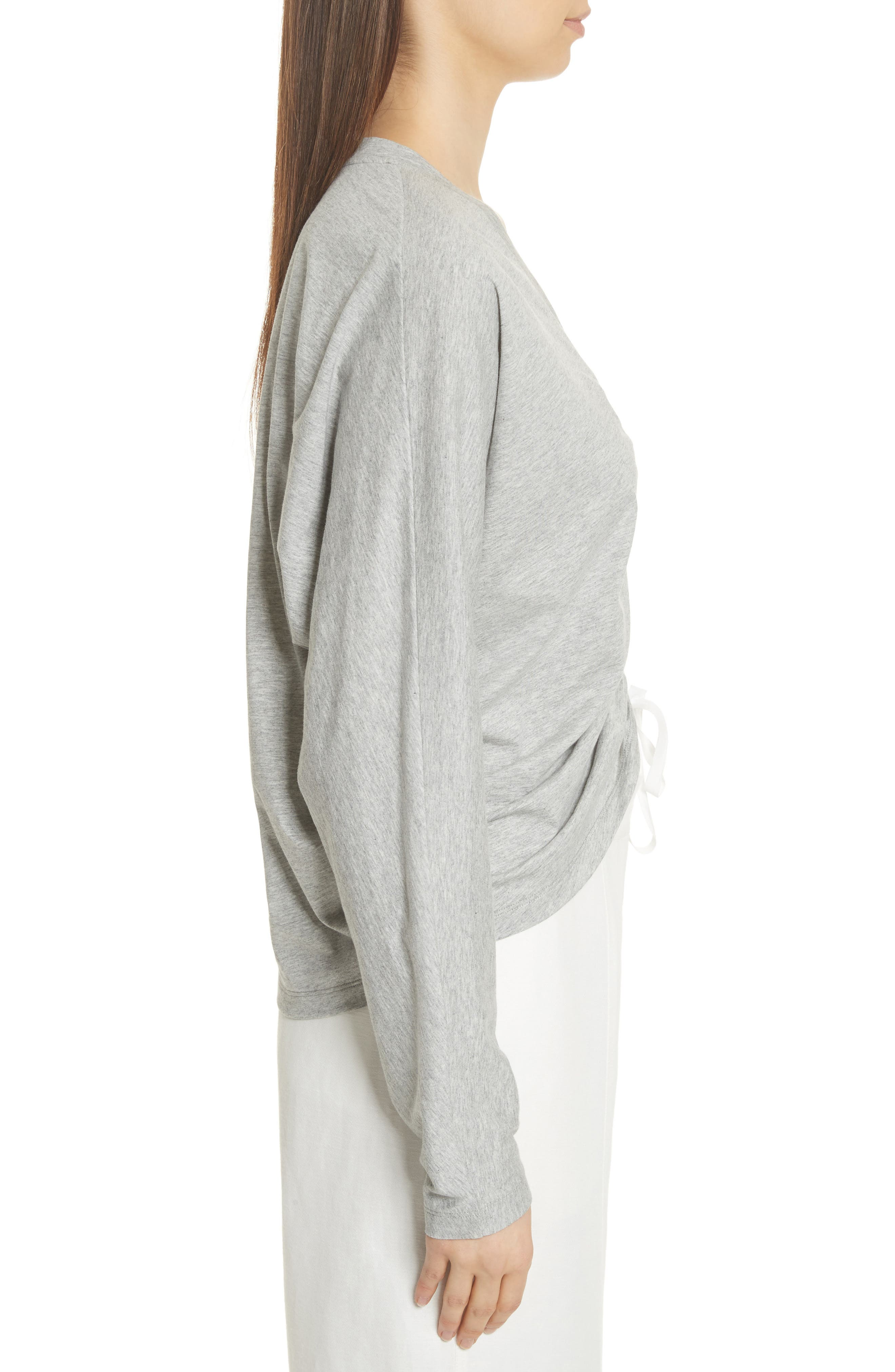 Ruched Front Tee,                             Alternate thumbnail 3, color,                             Heather Grey