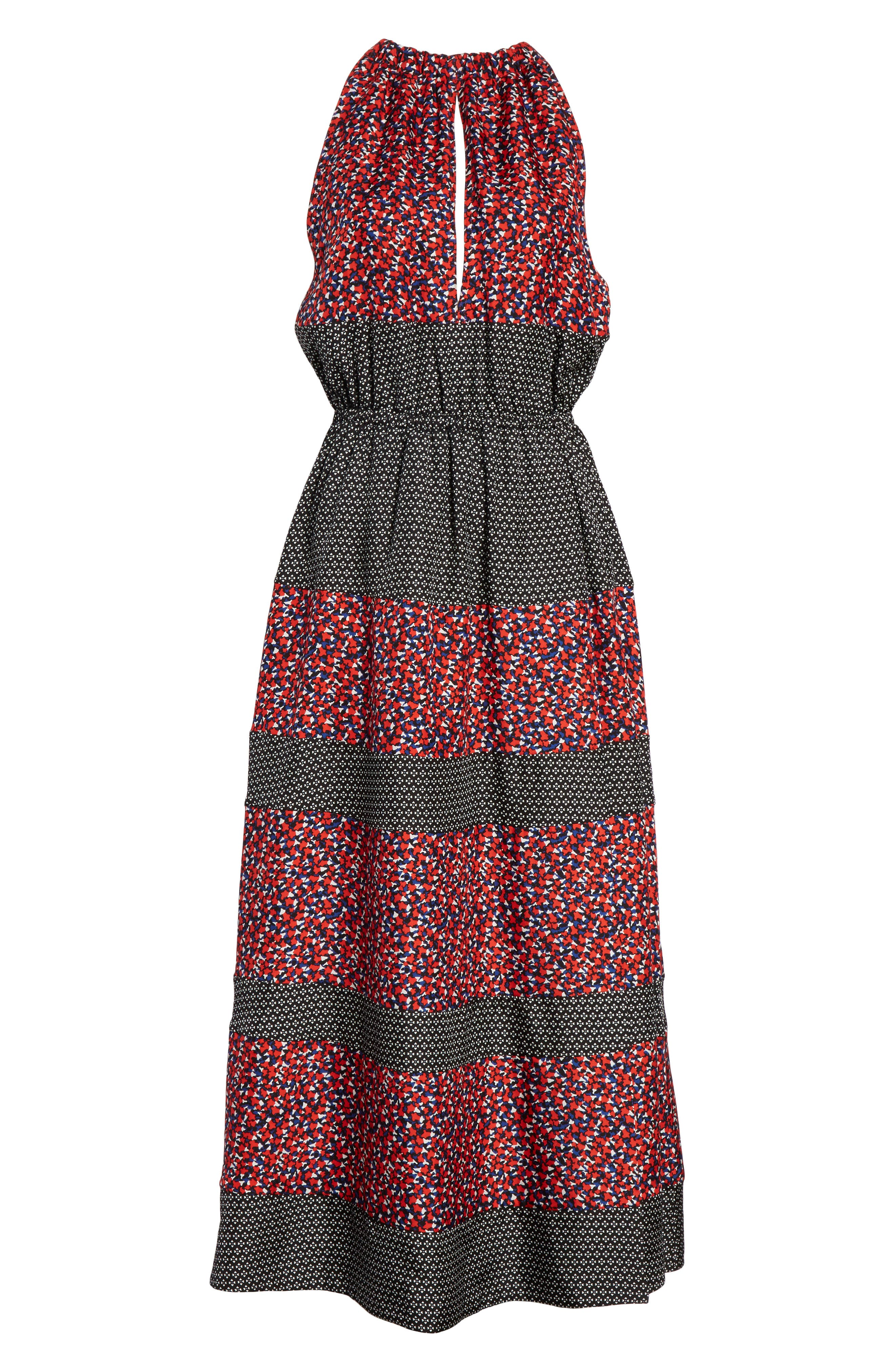 Mixed Print Halter Dress,                             Alternate thumbnail 6, color,                             Black Camp Floral