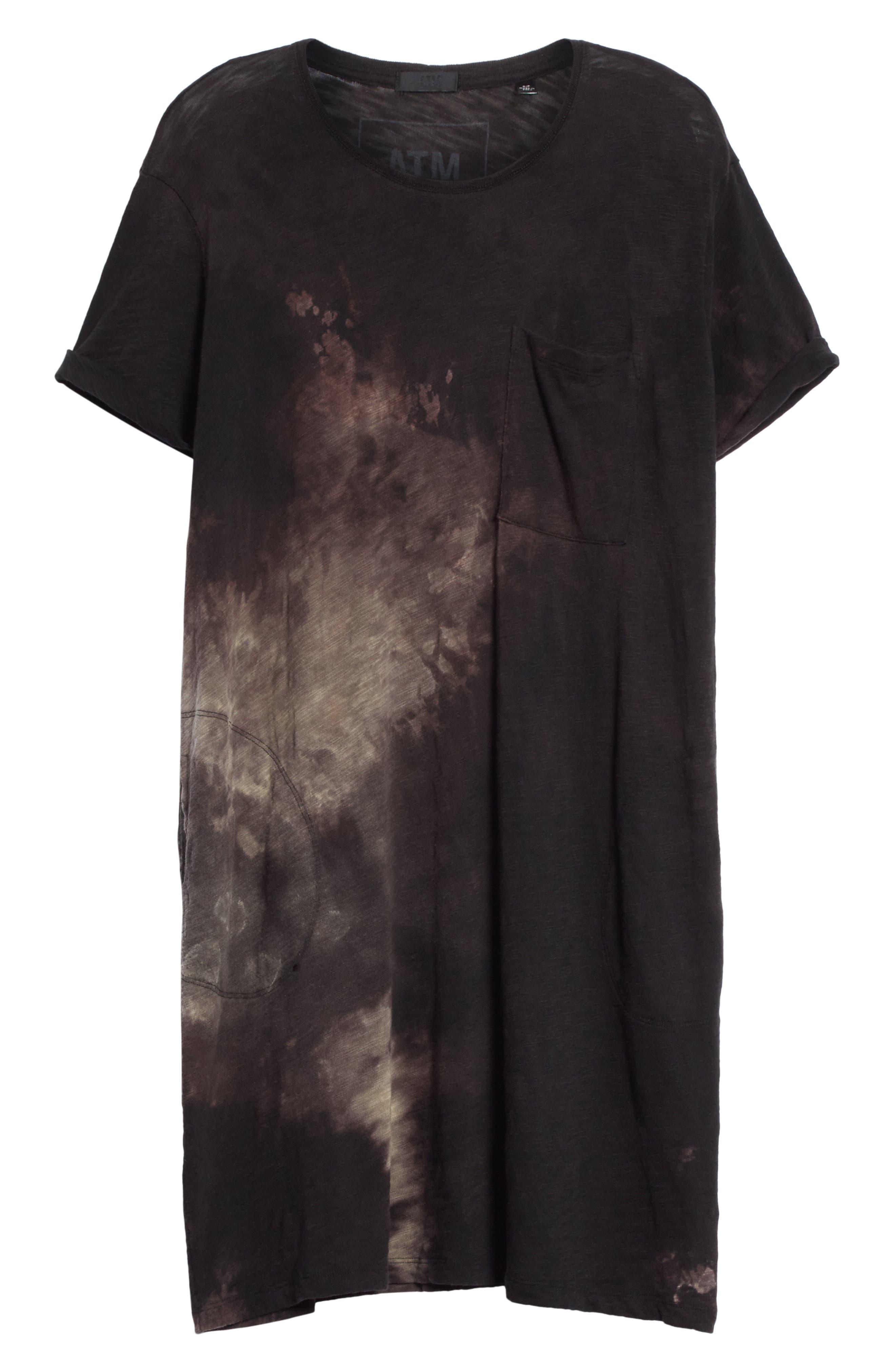 Tie Dye Jersey T-Shirt Dress,                             Alternate thumbnail 6, color,                             Black Tie Die
