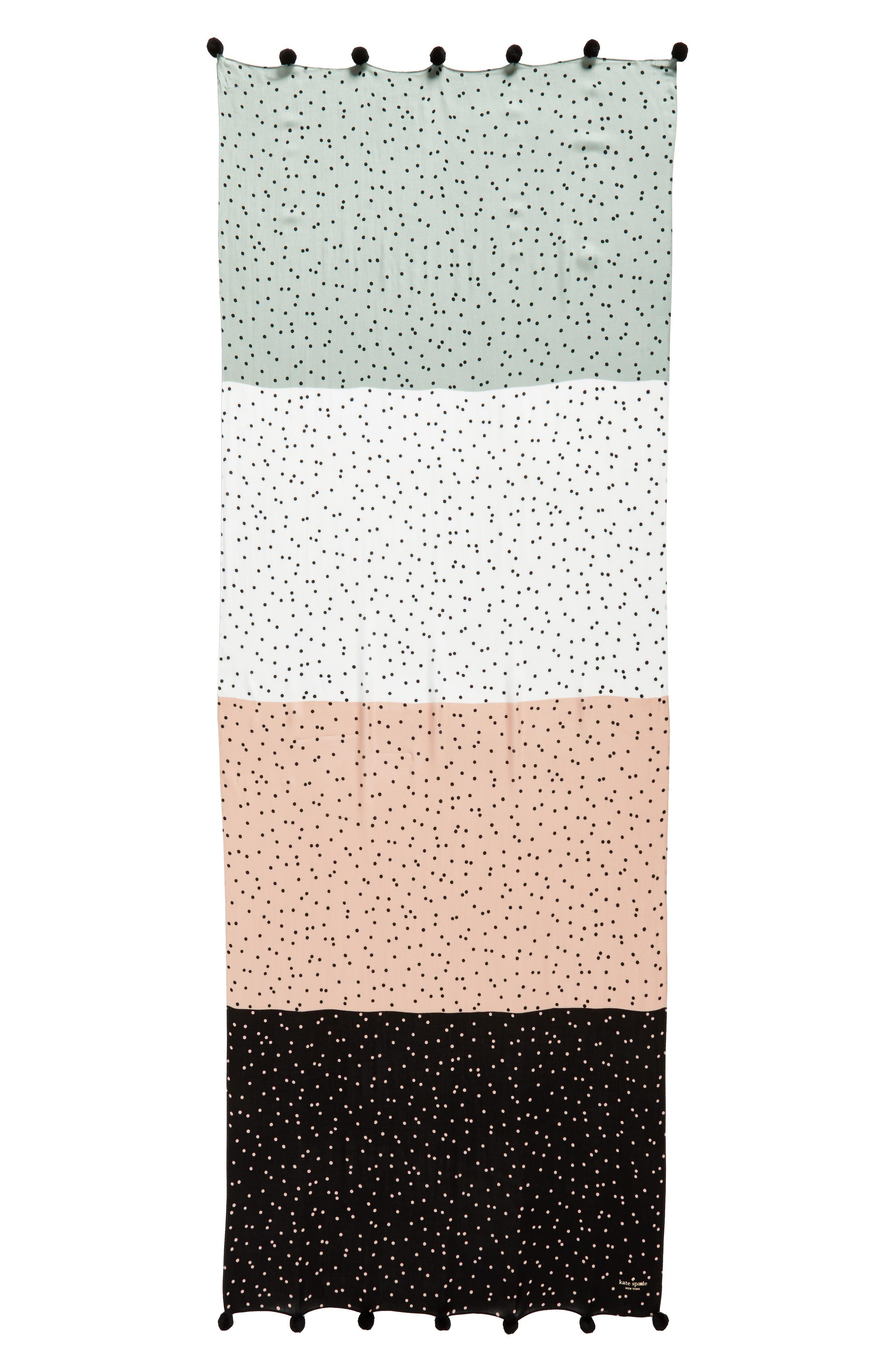 scatter pom scarf,                             Alternate thumbnail 2, color,                             Black