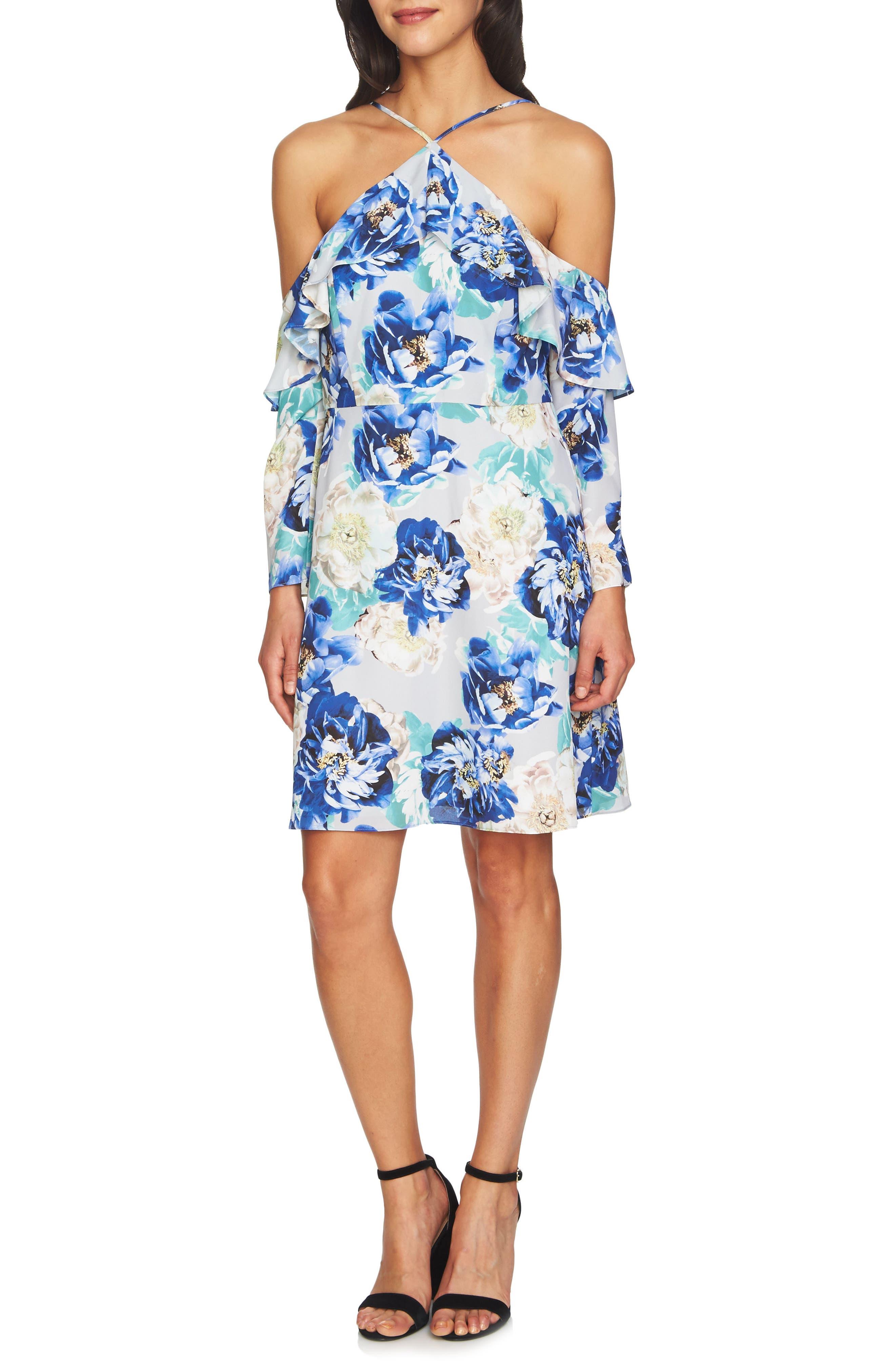 Main Image - CeCe Iris Cold Shoulder Halter Dress