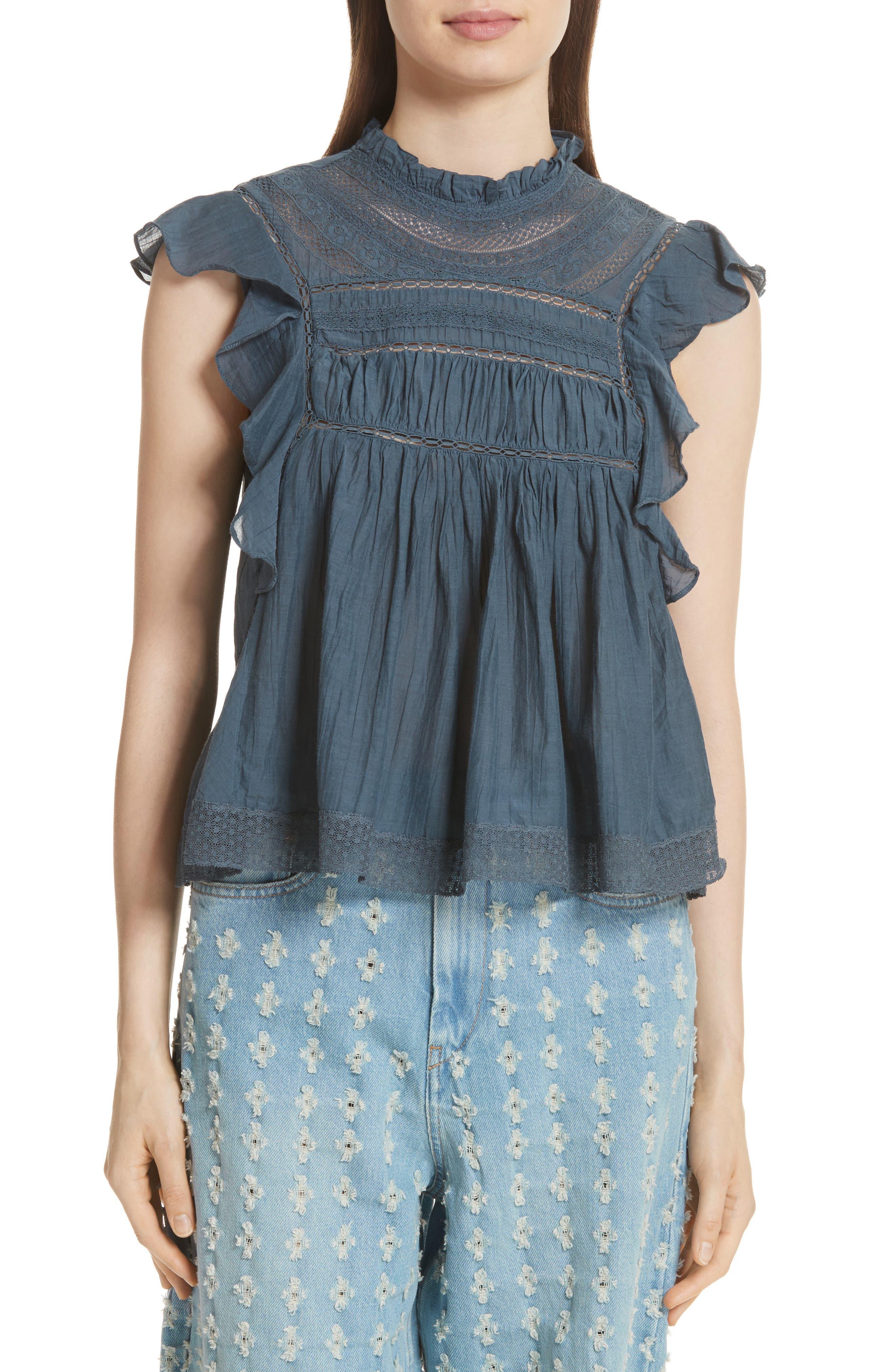 Isabel Marant Étoile Vivia Lace Trim Top,                         Main,                         color, Slate Blue