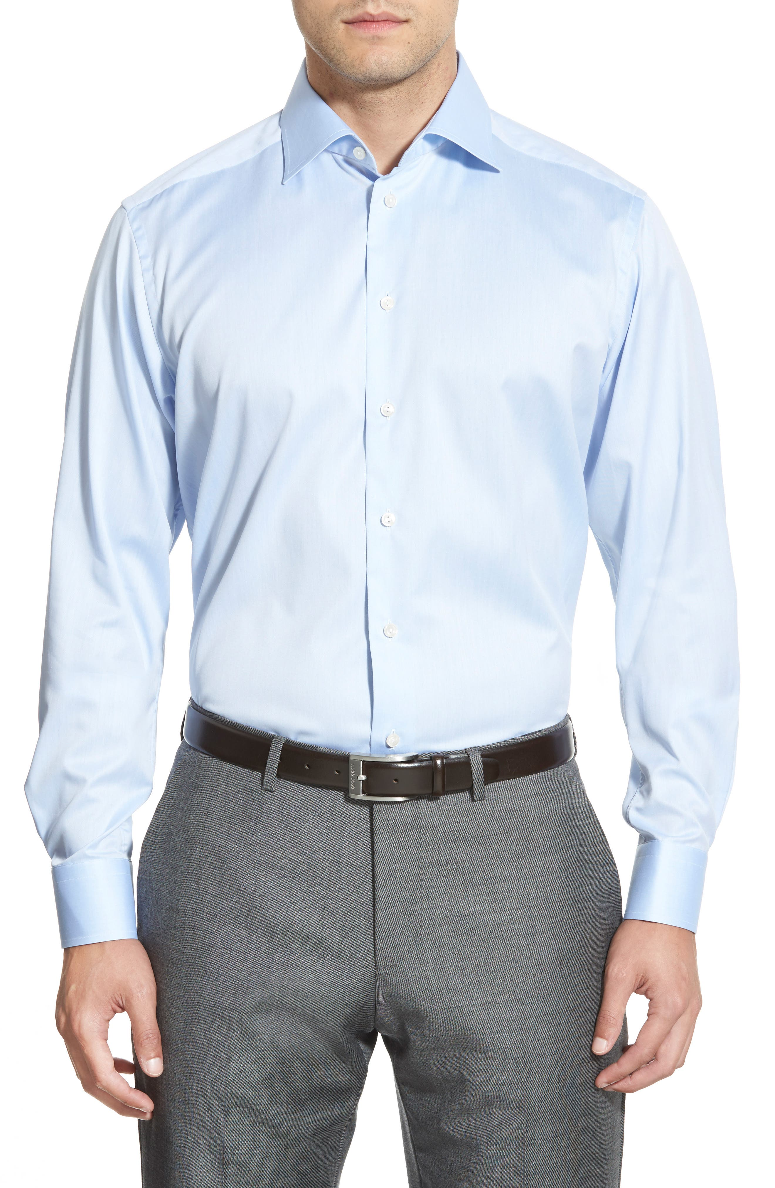 Contemporary Fit Twill Dress Shirt,                             Main thumbnail 1, color,                             Blue
