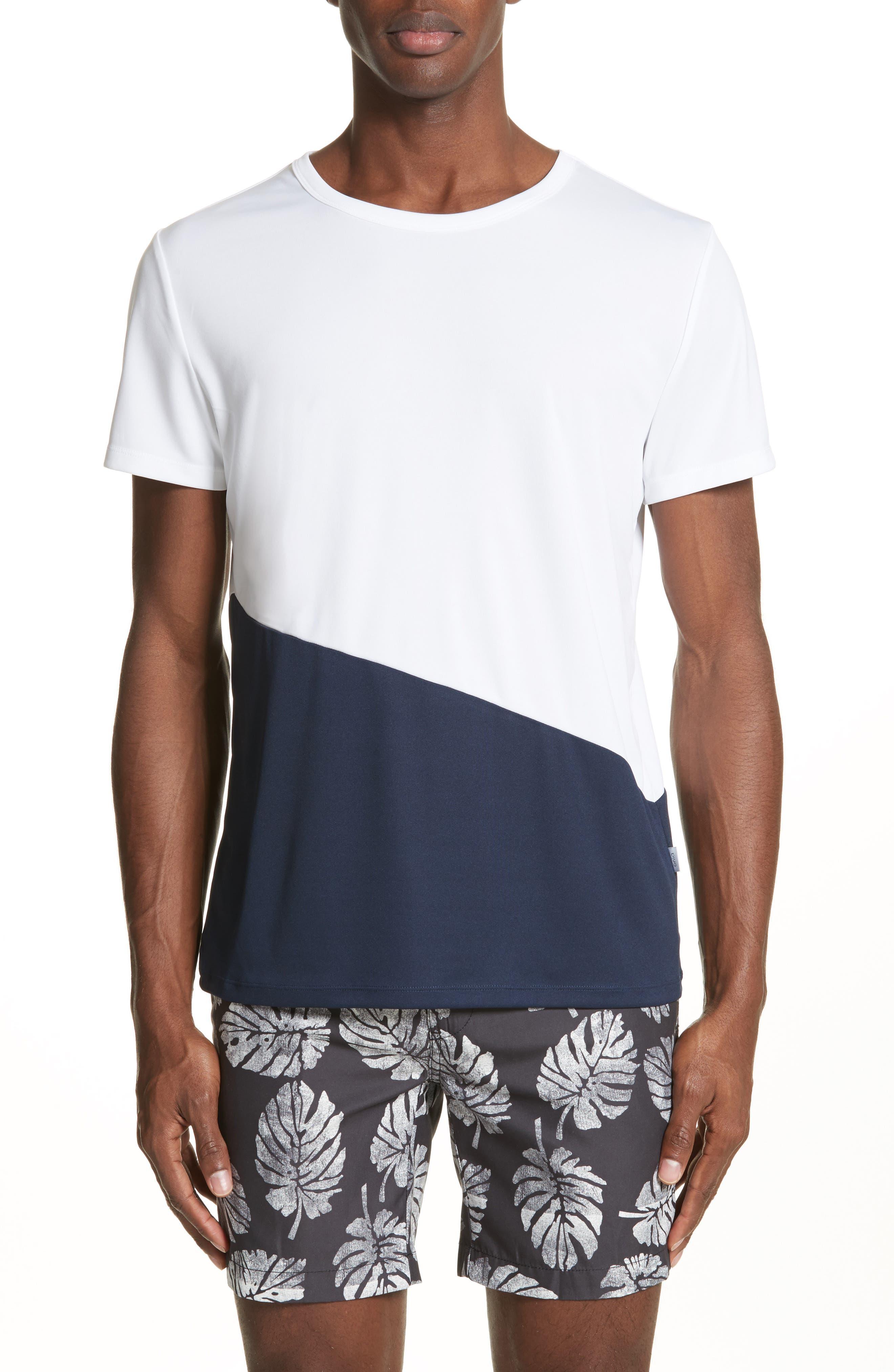 Colorblock Crewneck T-Shirt,                             Main thumbnail 1, color,                             Deep Navy/ White
