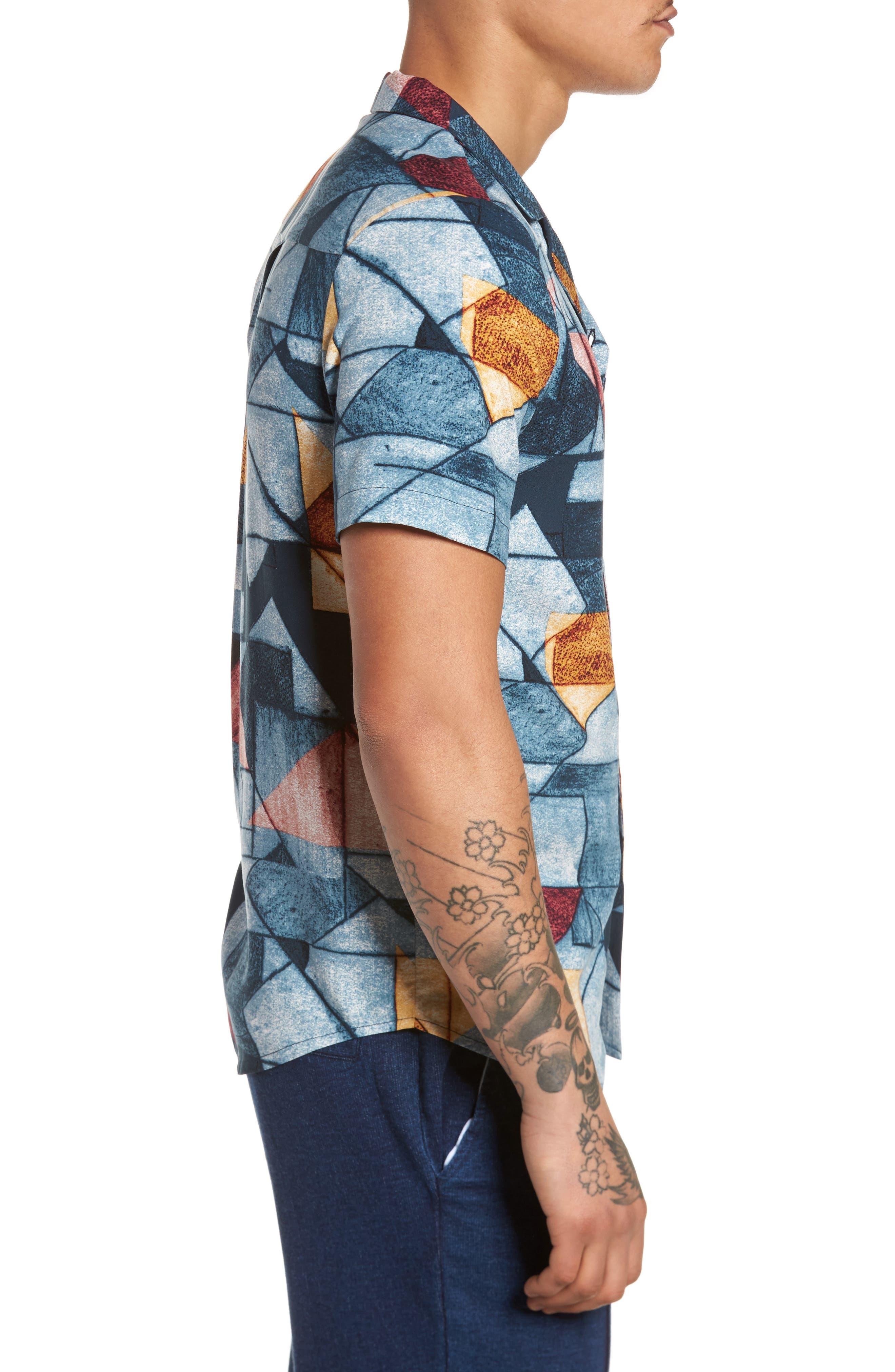 Olio Etch Woven Shirt,                             Alternate thumbnail 3, color,                             Indigo