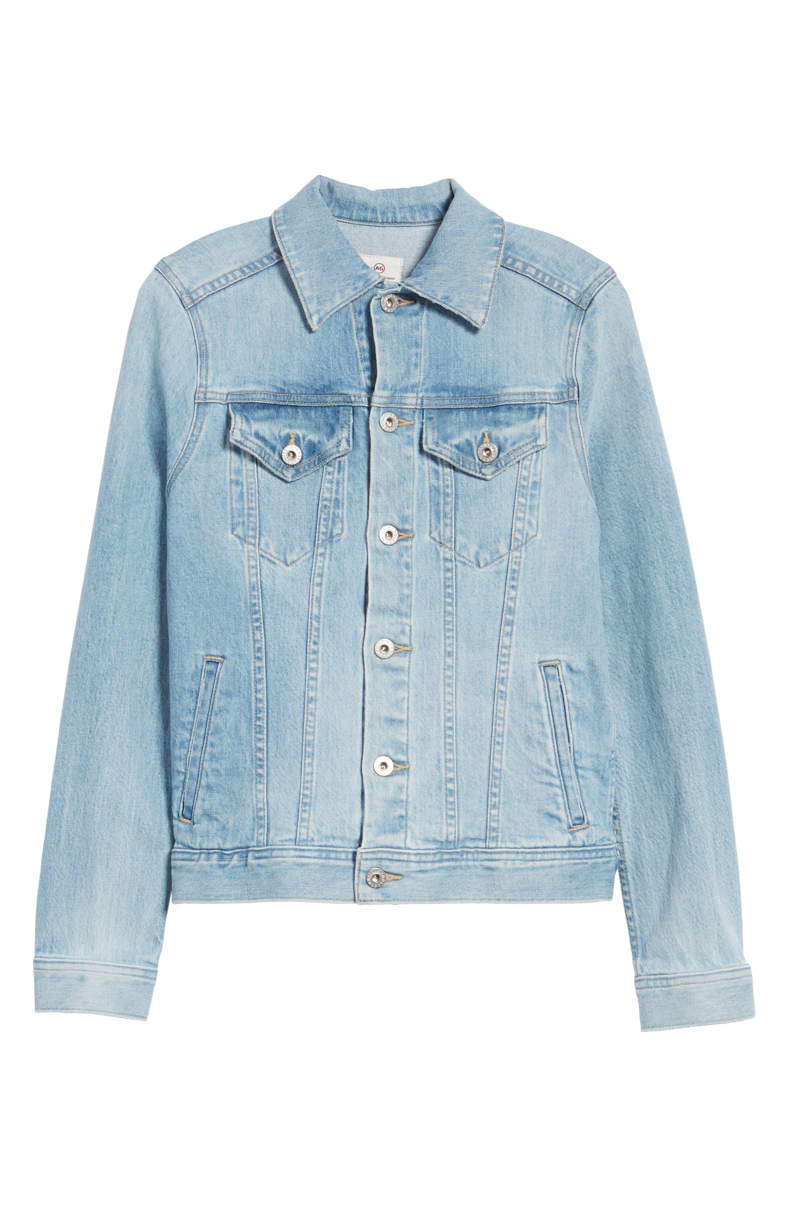 Mya Denim Jacket,                             Alternate thumbnail 6, color,                             Sunlight Blue