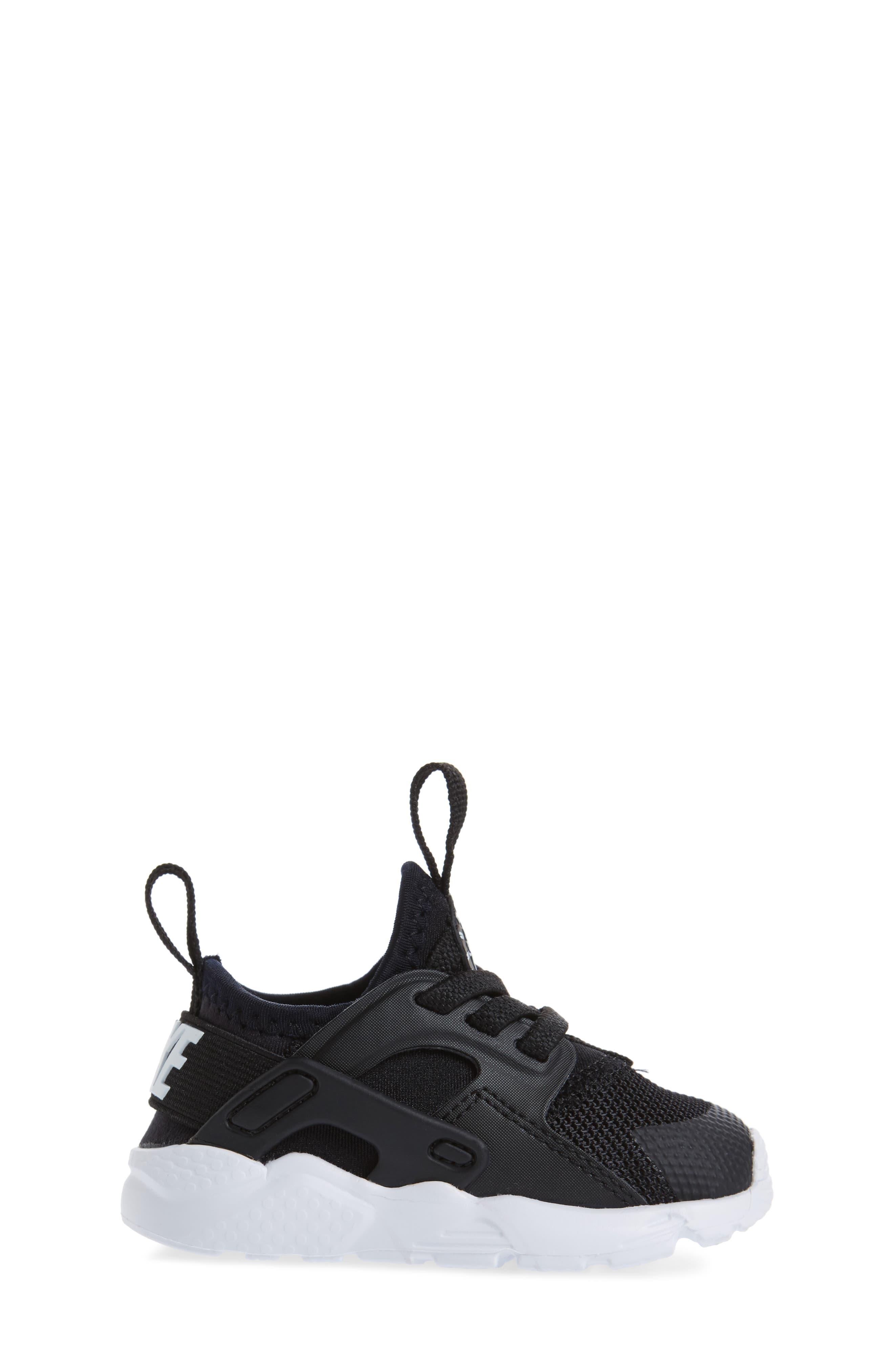 Air Huarache Run Ultra Sneaker,                             Alternate thumbnail 3, color,                             Black/ Black/ White