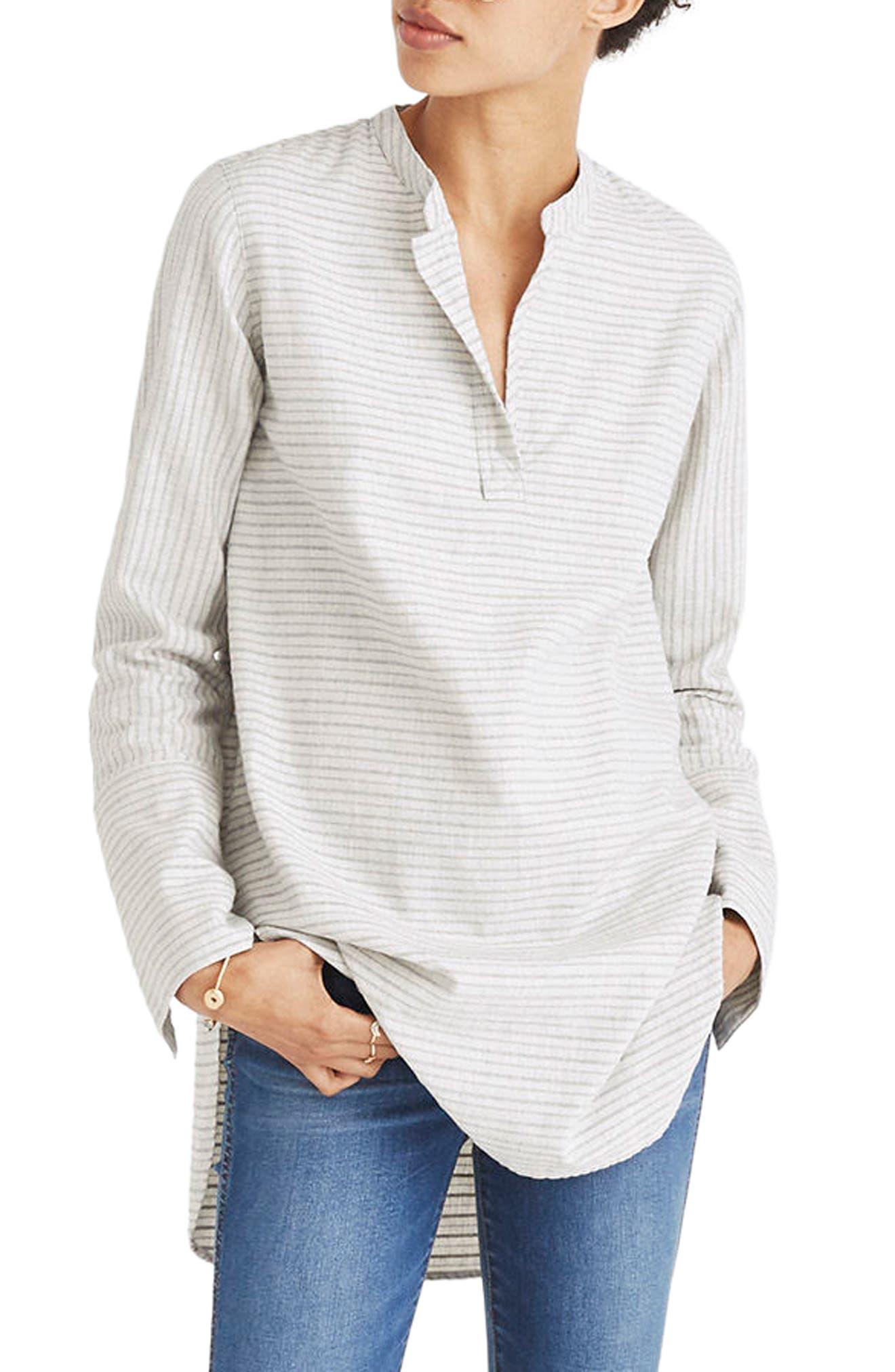 Split Cuff Tunic Shirt,                             Main thumbnail 1, color,                             Weathered Concrete