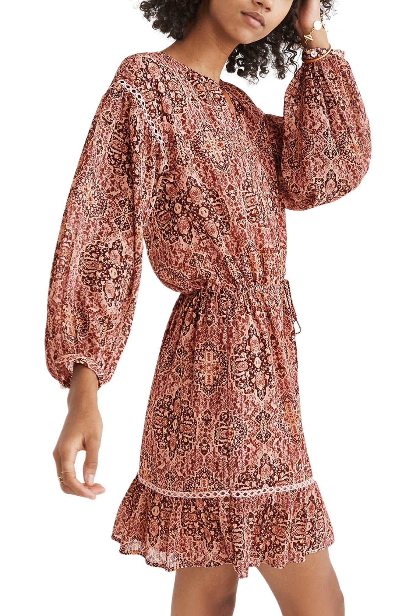 Drawstring Peasant Dress,                         Main,                         color, Gentle Blush