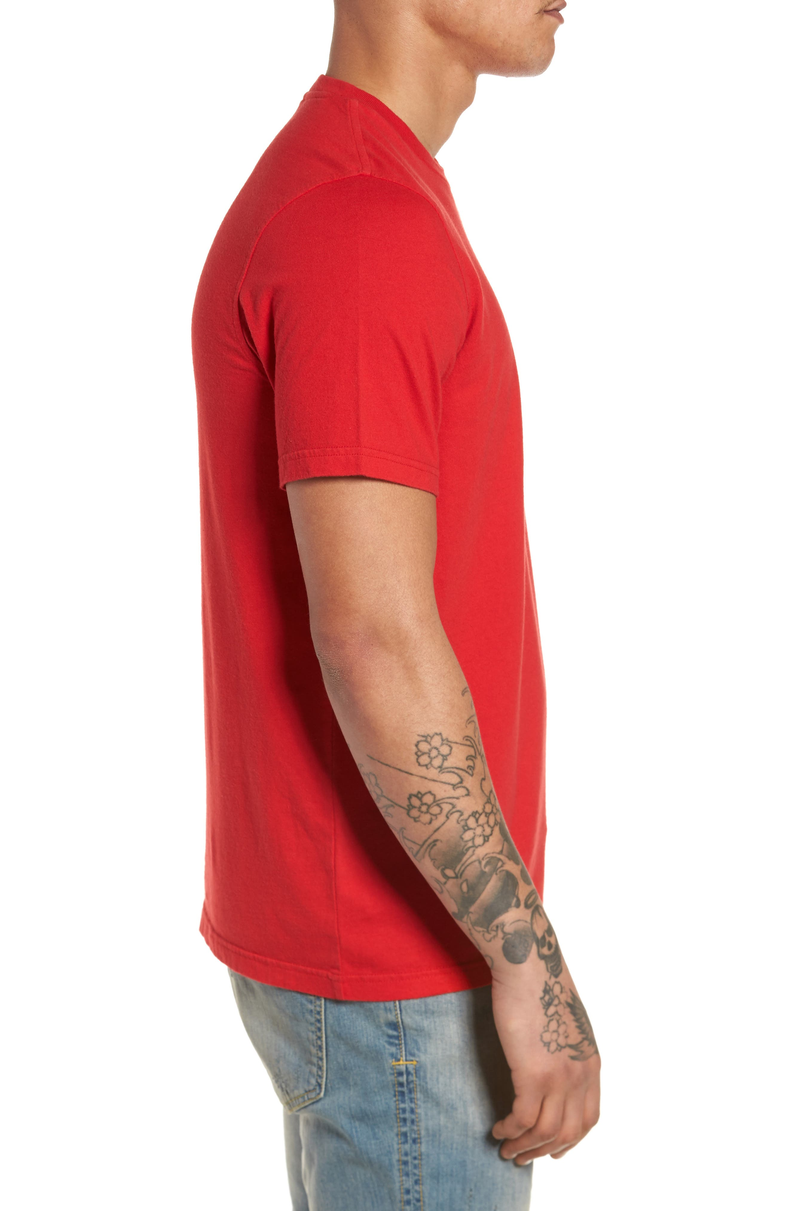 Trefoil T-Shirt,                             Alternate thumbnail 3, color,                             Scarle