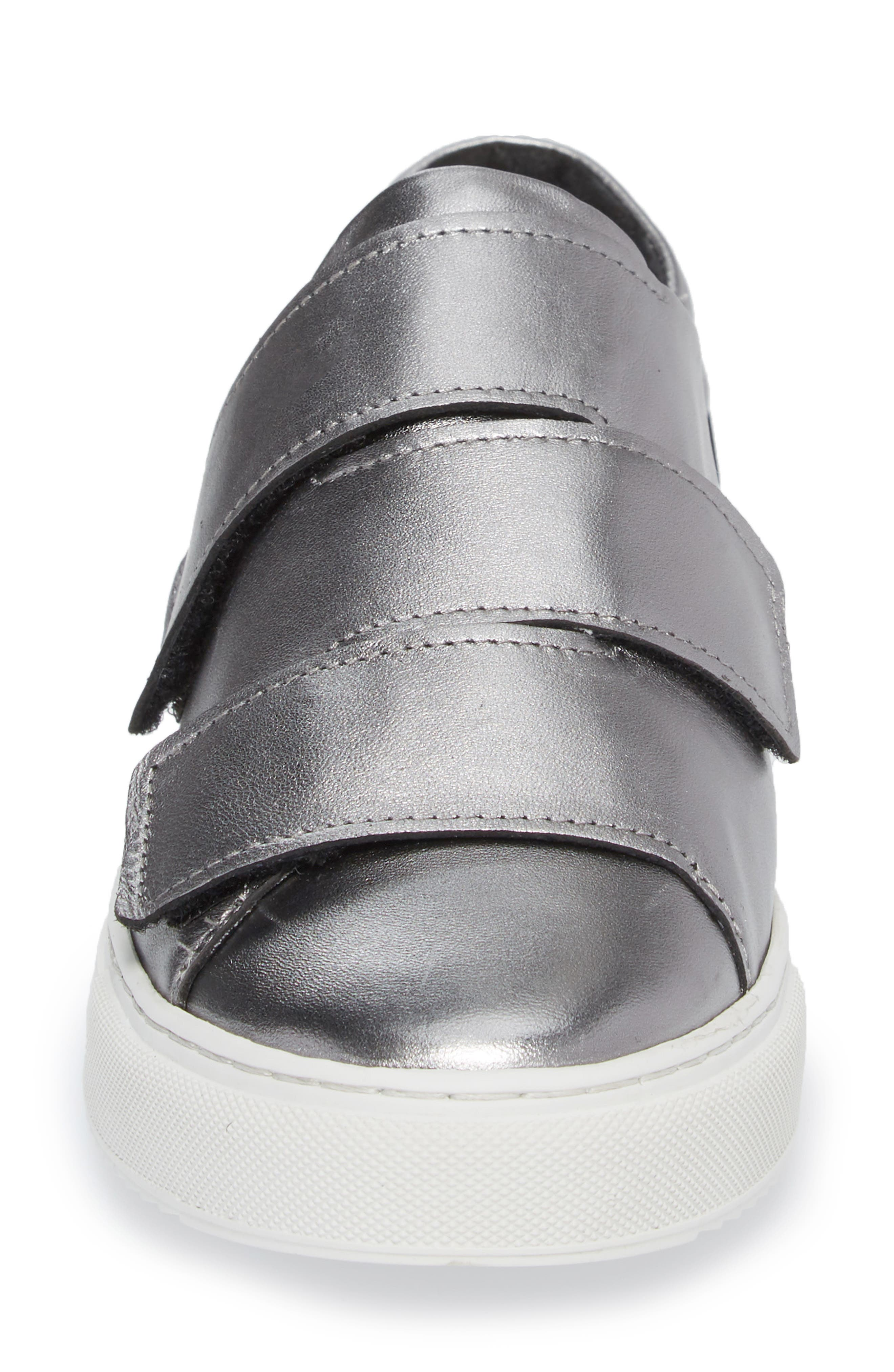 Rollover Alternating Strap Sneaker,                             Alternate thumbnail 4, color,                             Pewter Leather