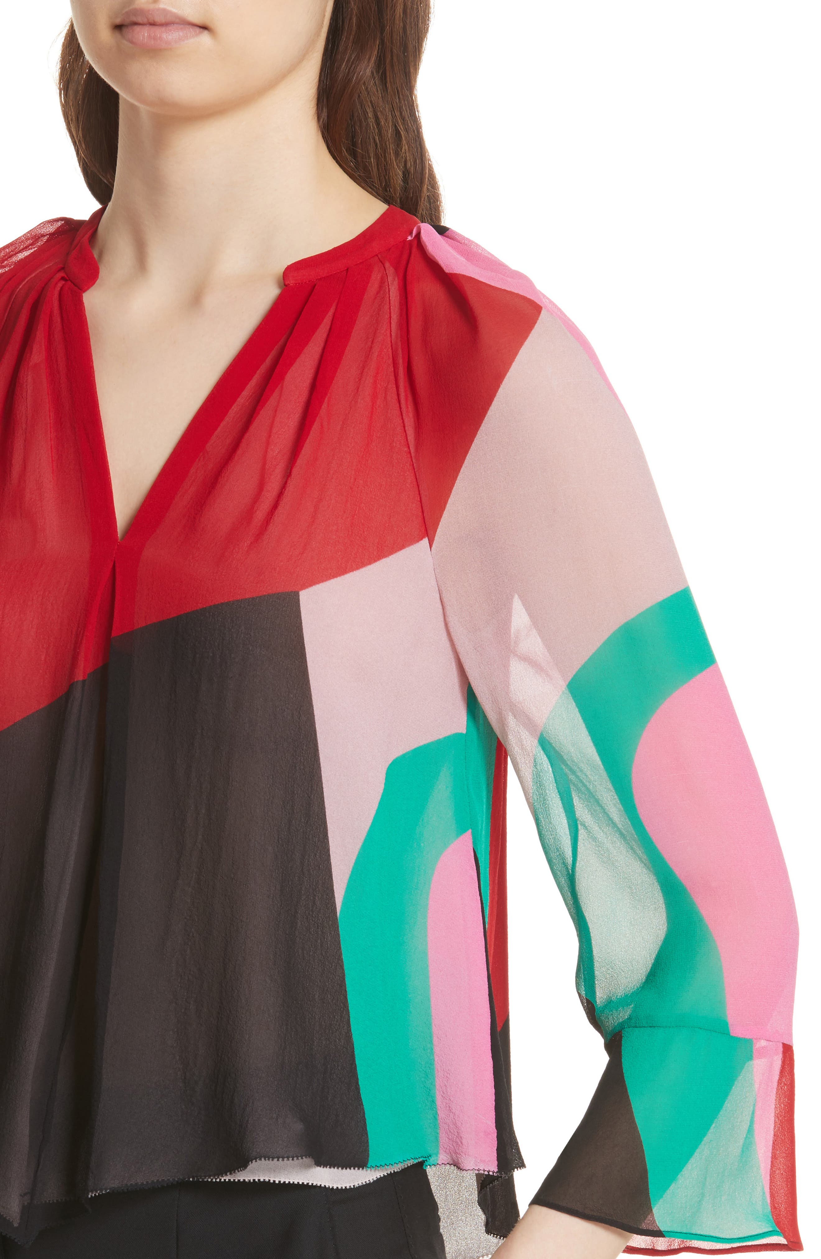 Quinlynn Colorblock Silk Top,                             Alternate thumbnail 4, color,                             Multi