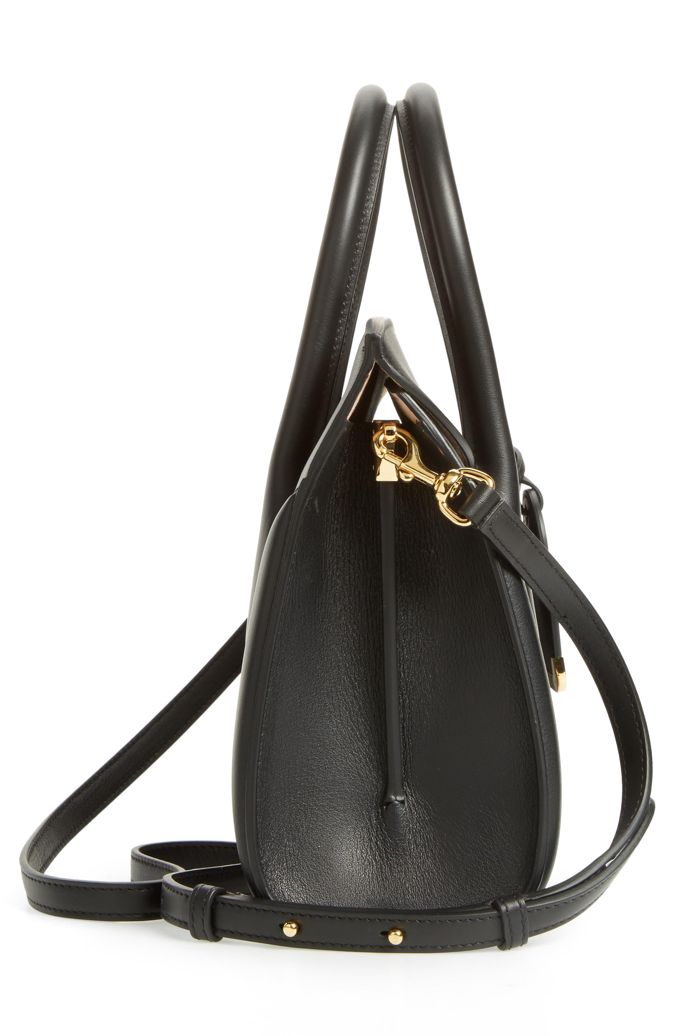 Heroine 30 Sweet Calfskin Leather Shopper,                             Alternate thumbnail 5, color,                             Black