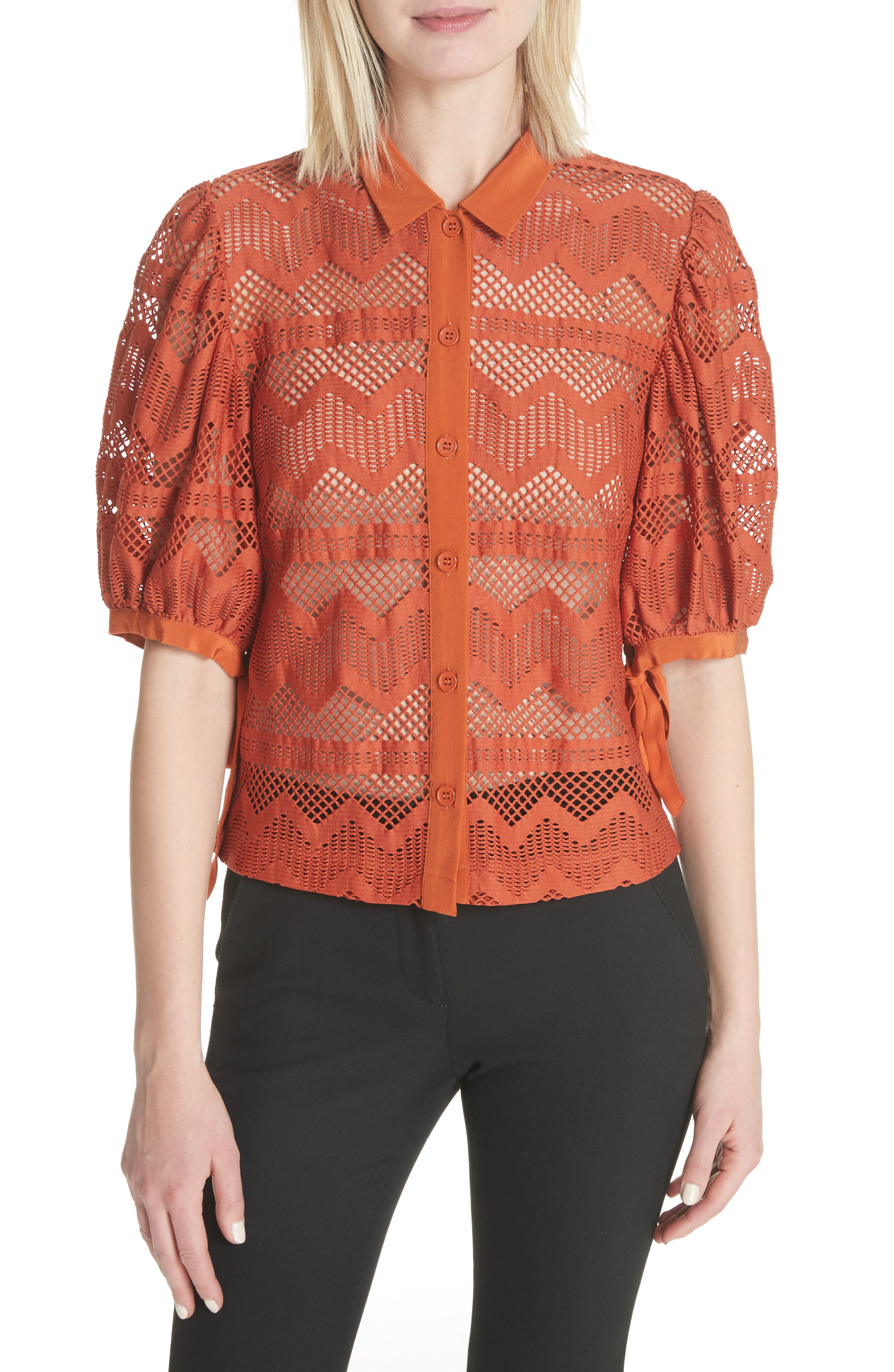 Puff Sleeve Lace Blouse,                         Main,                         color, Brick