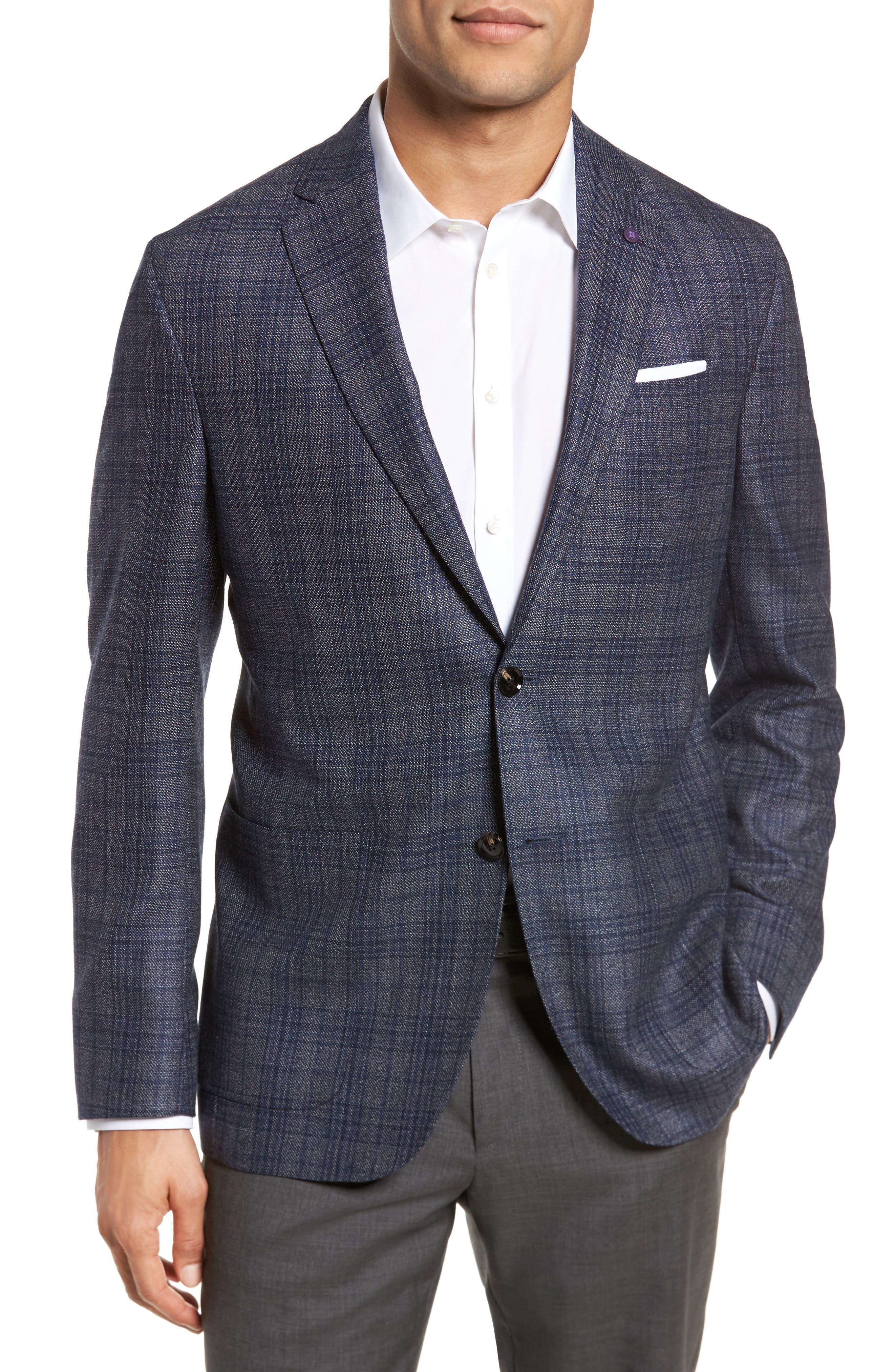Kyle Trim Fit Plaid Silk & Wool Sport Coat,                         Main,                         color, Grey