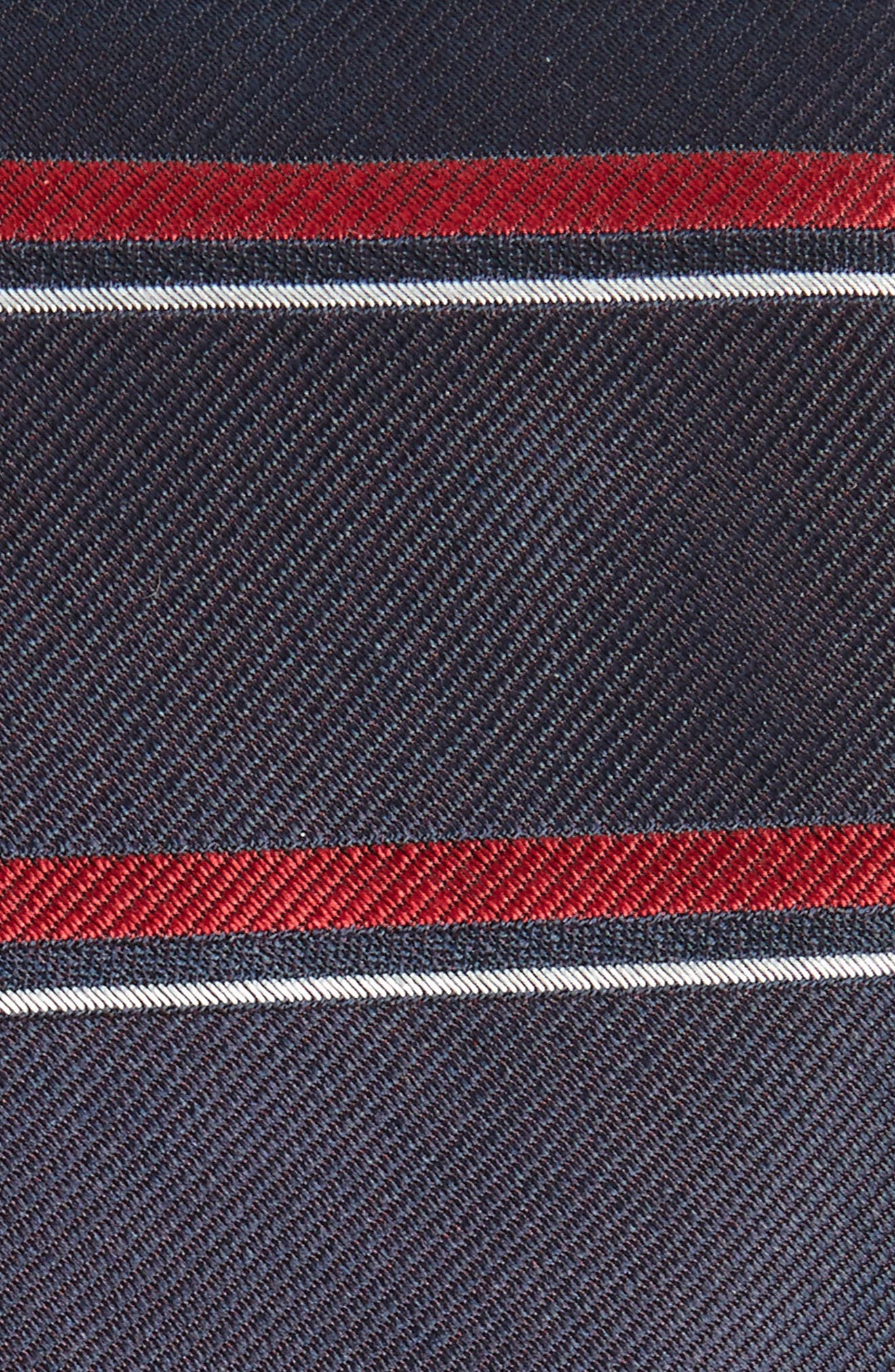 Horizontal Stripe Silk Skinny Tie,                             Alternate thumbnail 2, color,                             Navy