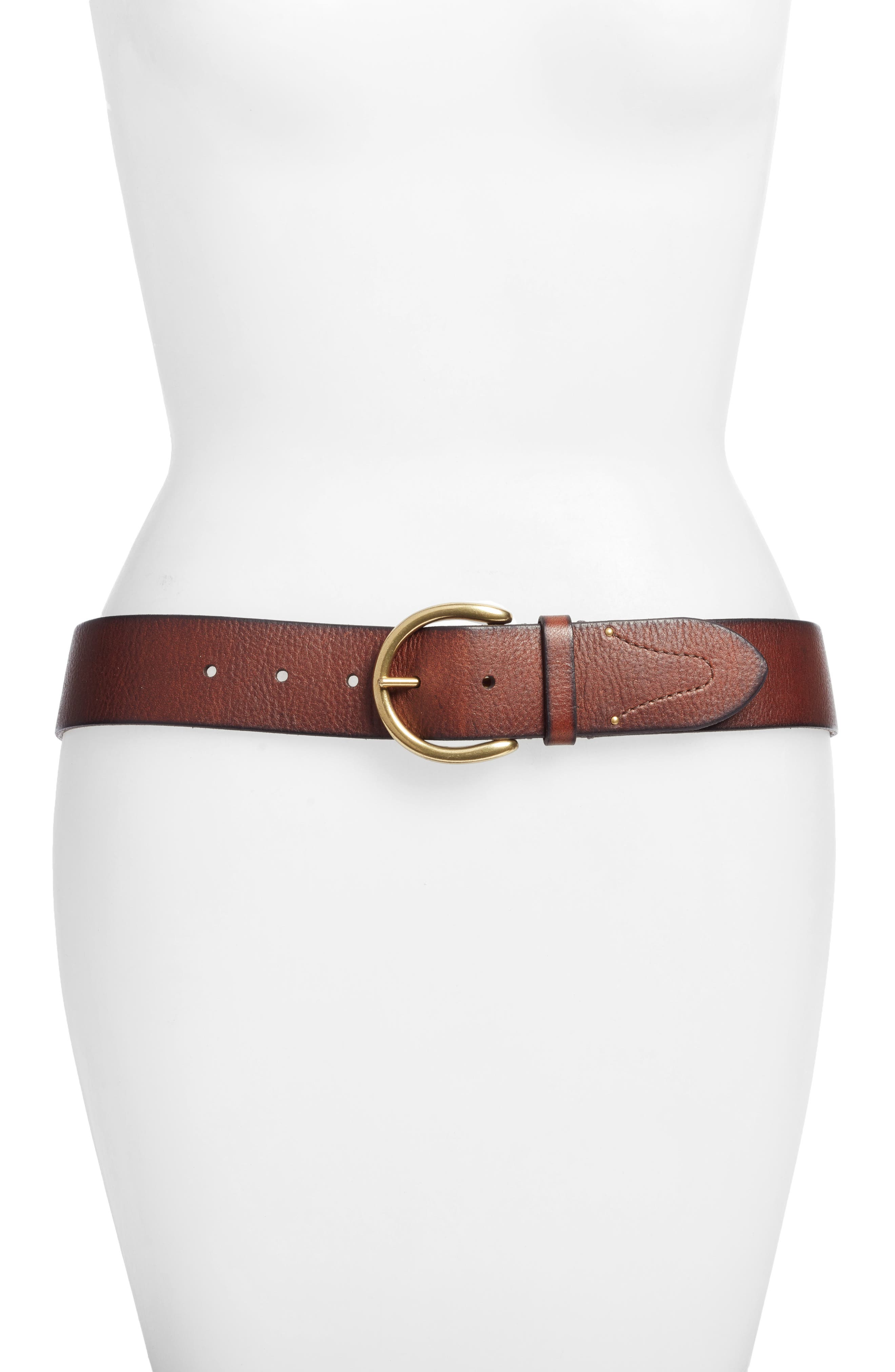 Campus Leather Belt,                         Main,                         color, Brown