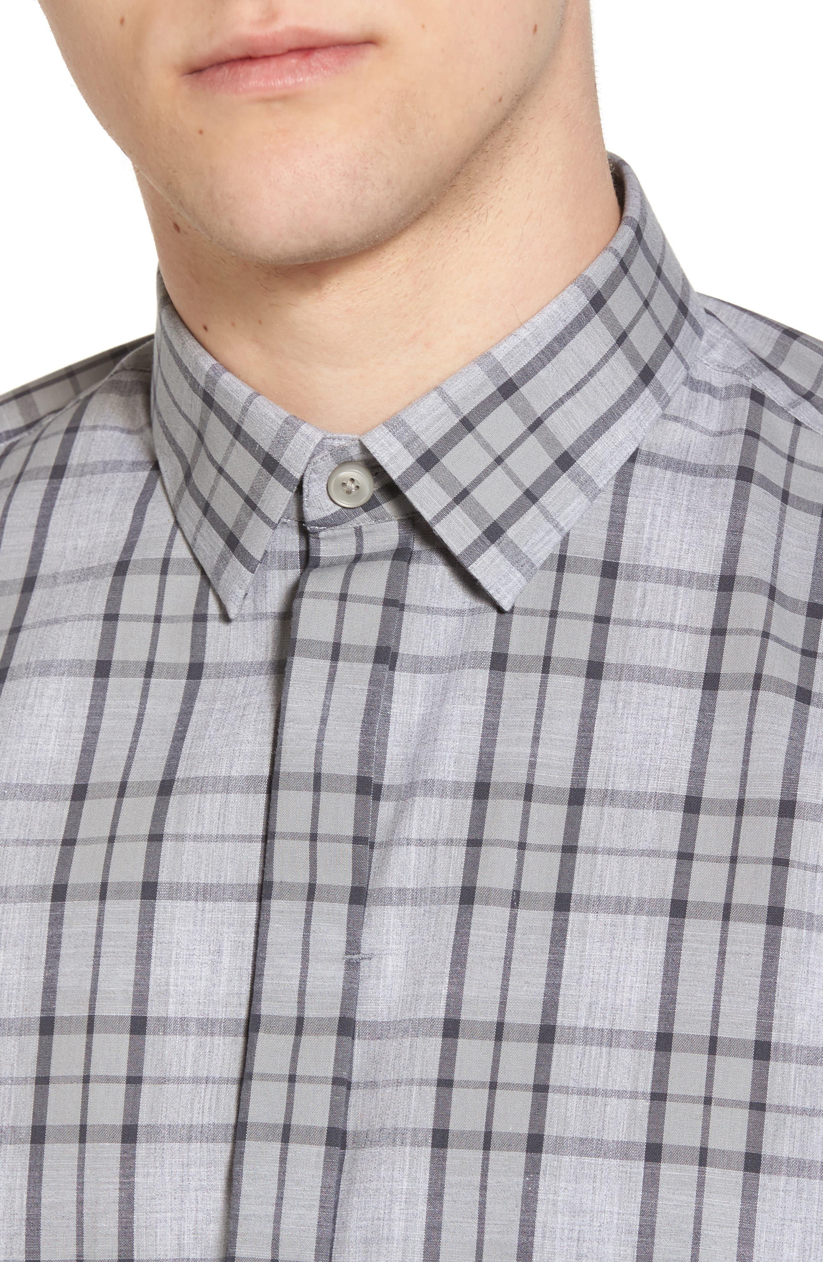 Trim Fit Plaid Sport Shirt,                             Alternate thumbnail 4, color,                             Grey Micro Heather Plaid