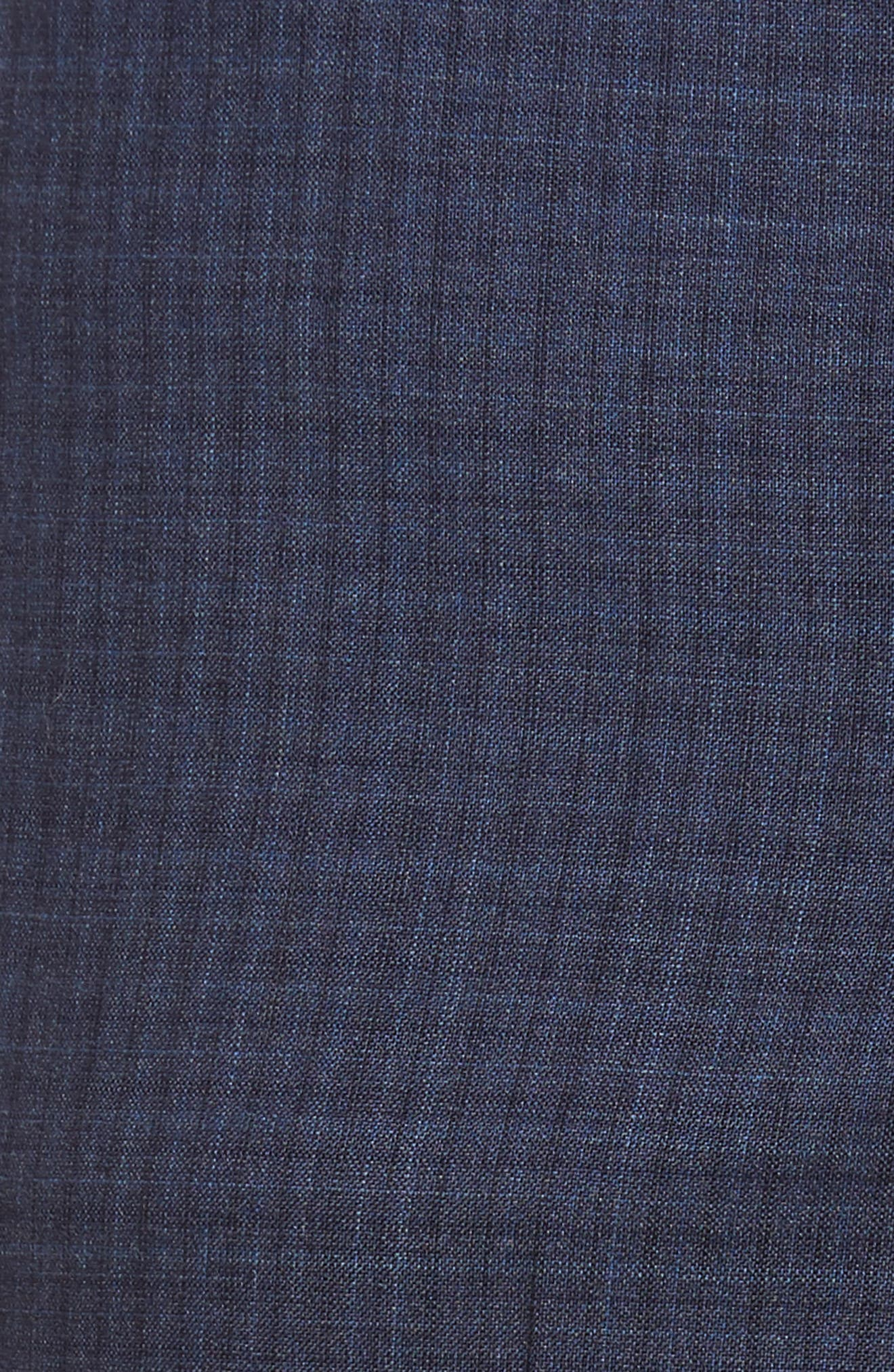 Jefferson Flat Front Check Wool Trousers,                             Alternate thumbnail 5, color,                             Blue